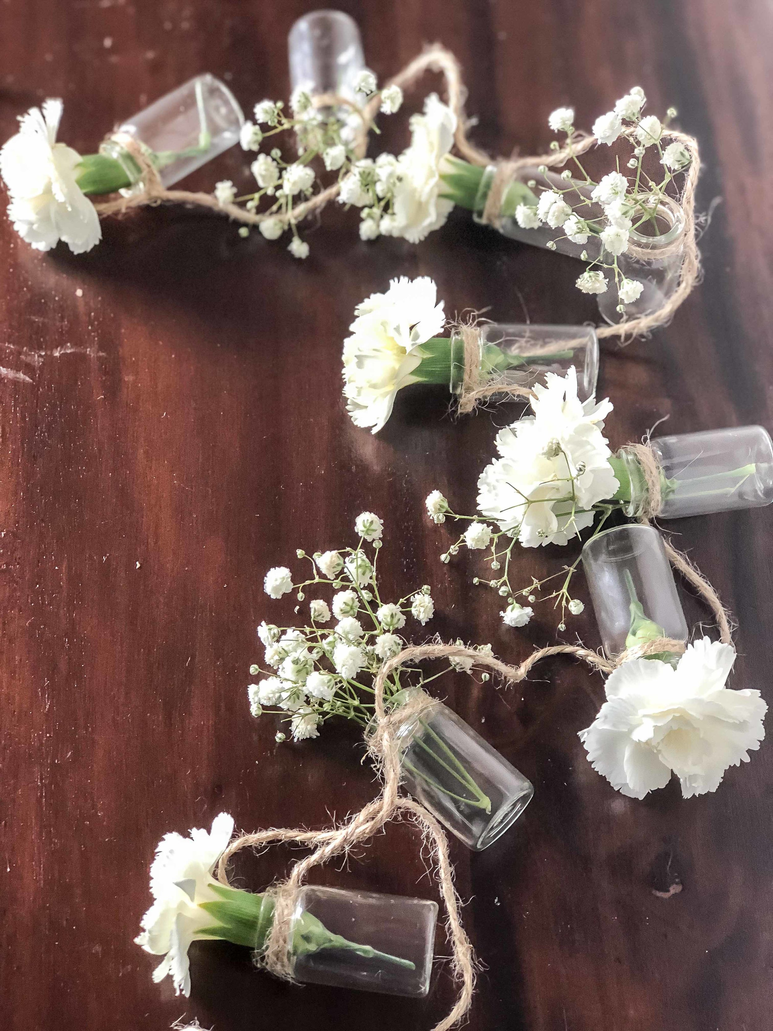 Hanging Glass Vases: $10 - Set of 3 (holding 8 vases 9 vases and 10 vases)