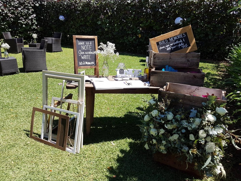 Various chalkboards, frames and wooden crates: prices vary -