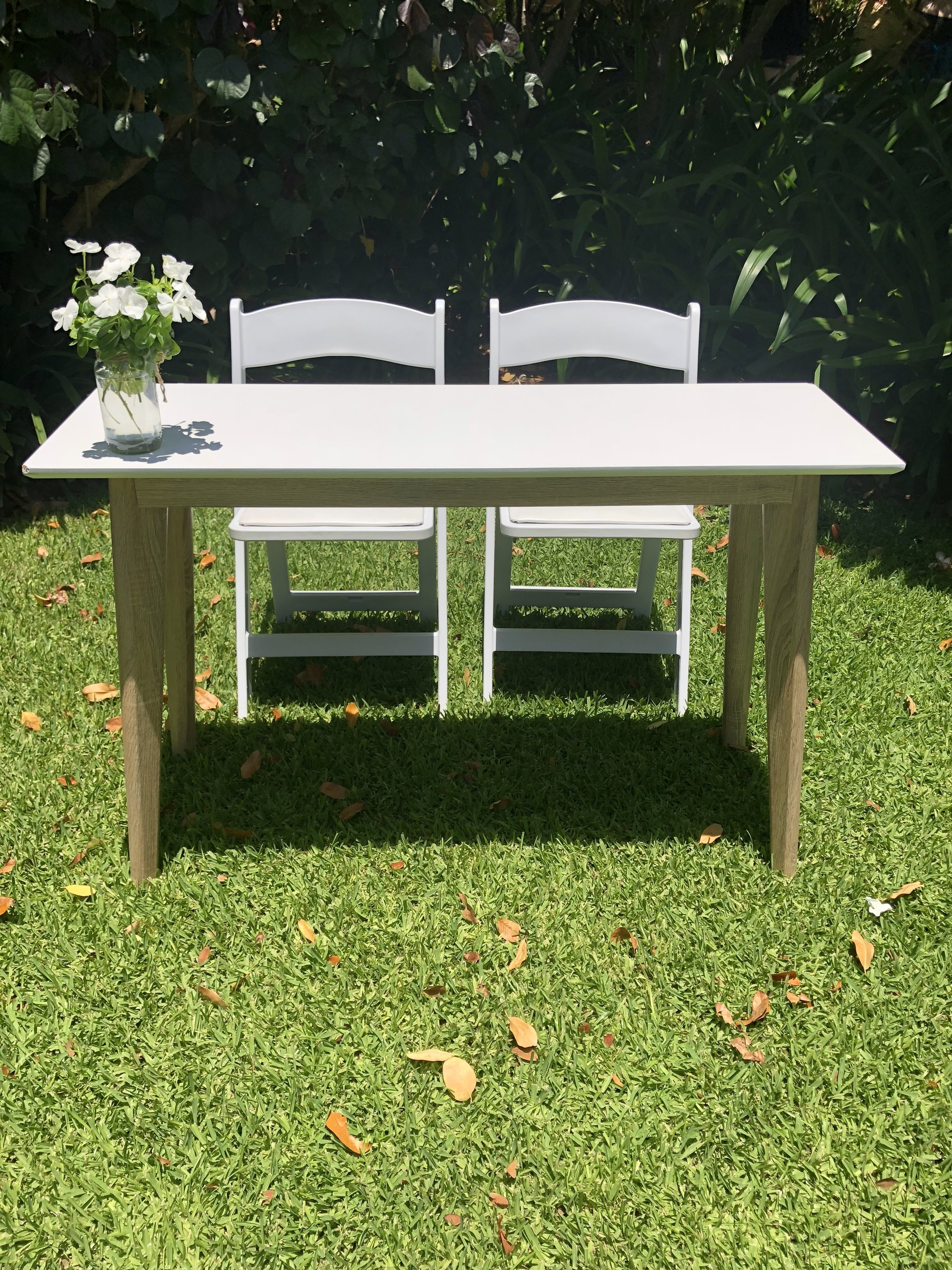 White signing table: $70 - Chairs $10 each