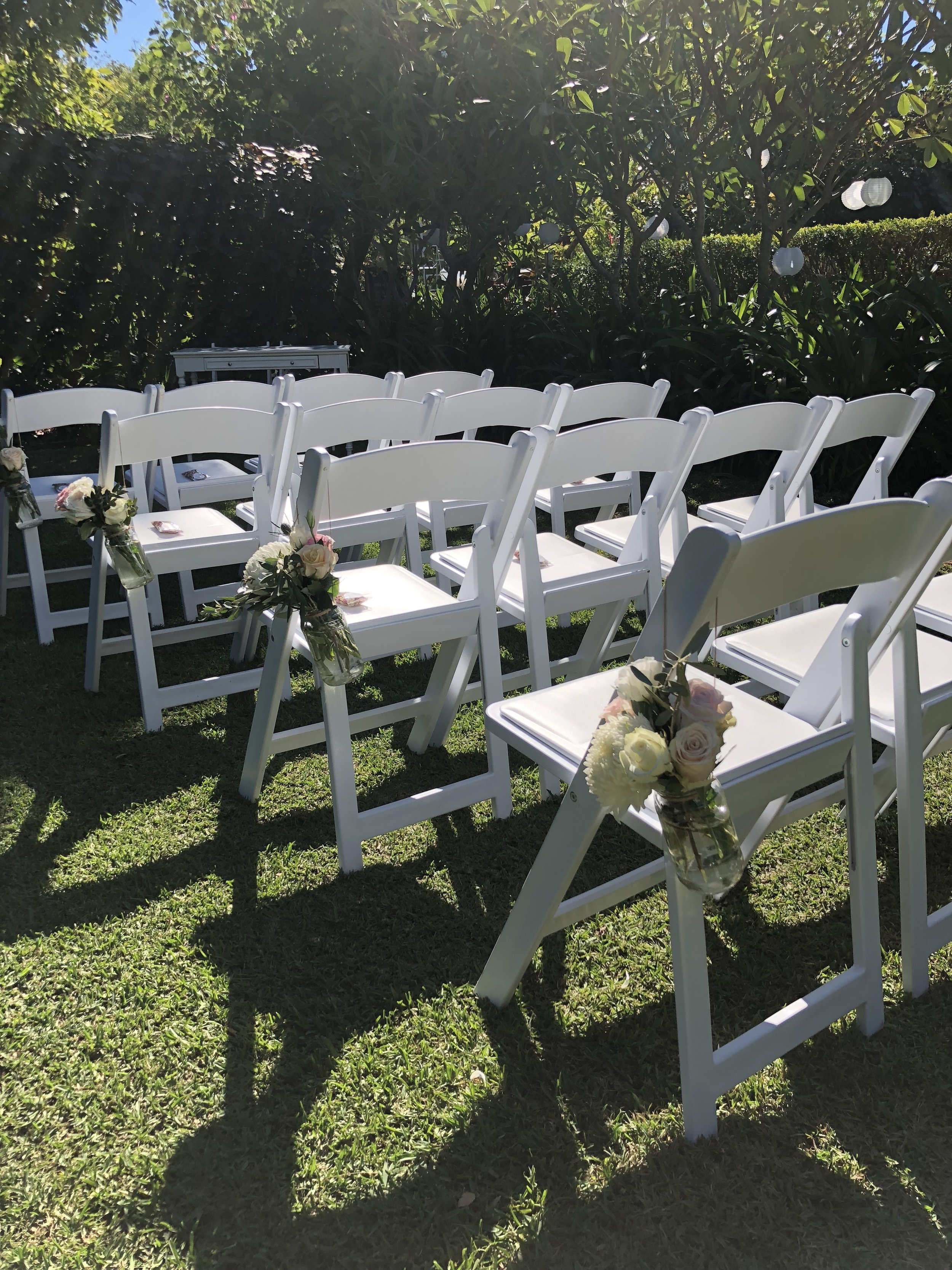 Ceremony chairs : $10 each - Perfect for your beach or garden ceremony