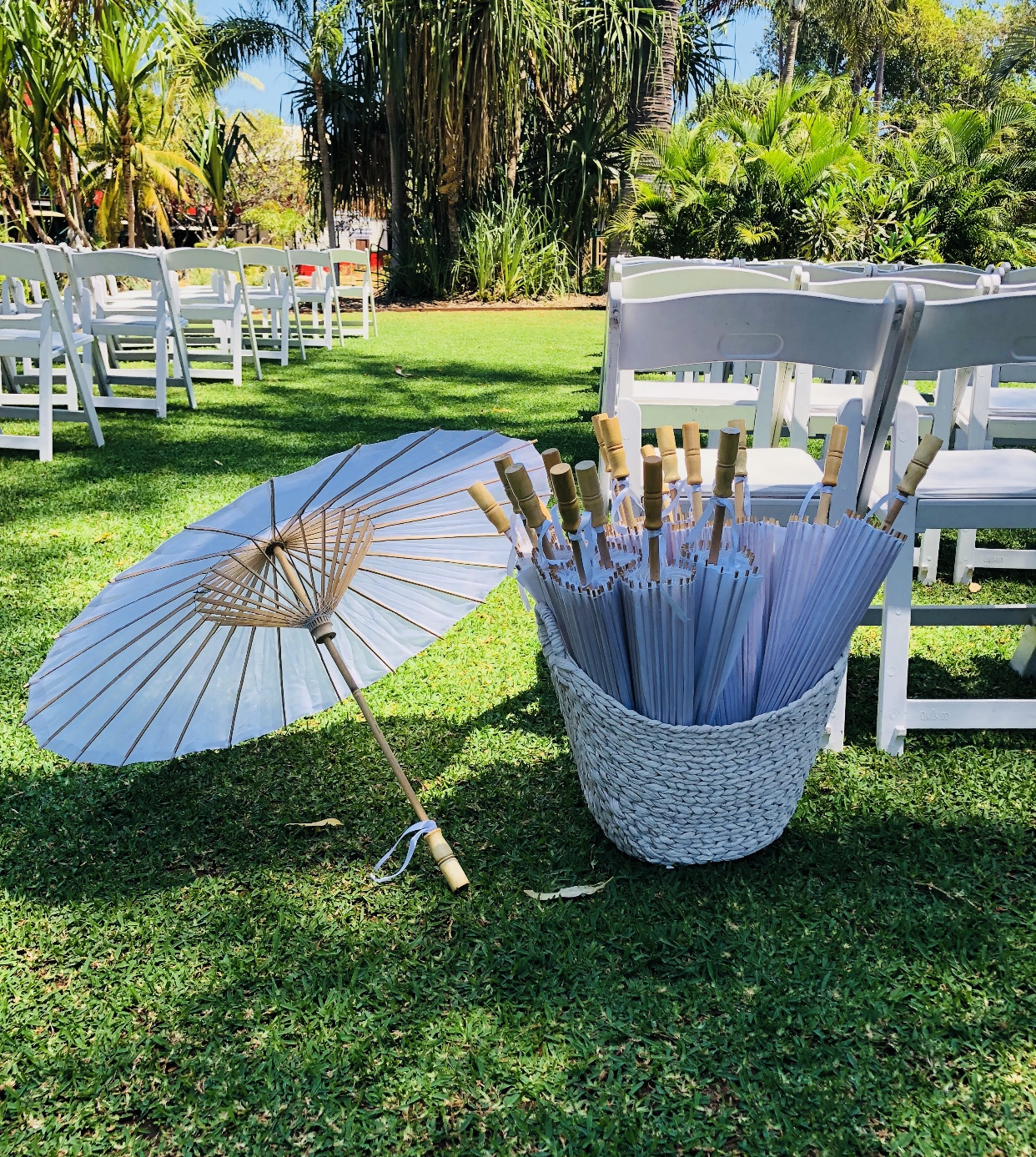 Parasols: $5 each - Comes with a white cane basket