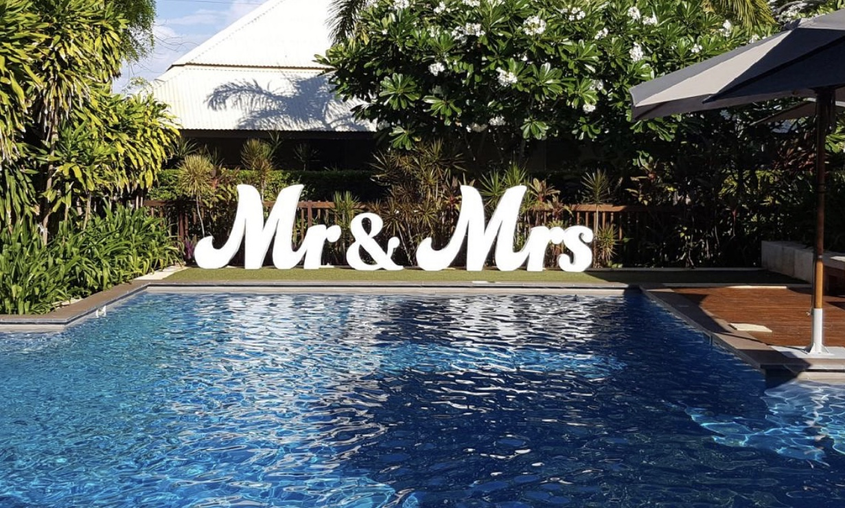 Mr & Mrs Sign: $300 - Set the scene with these 1.2m-high signs. The cost includes delivery, set up and pack down.