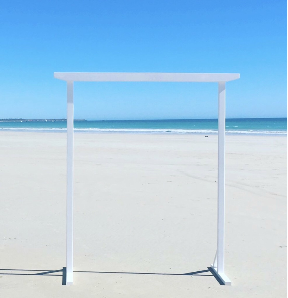 White wooden arbour 'AVA': $150 - 2.2 metres high x 2 metres wide