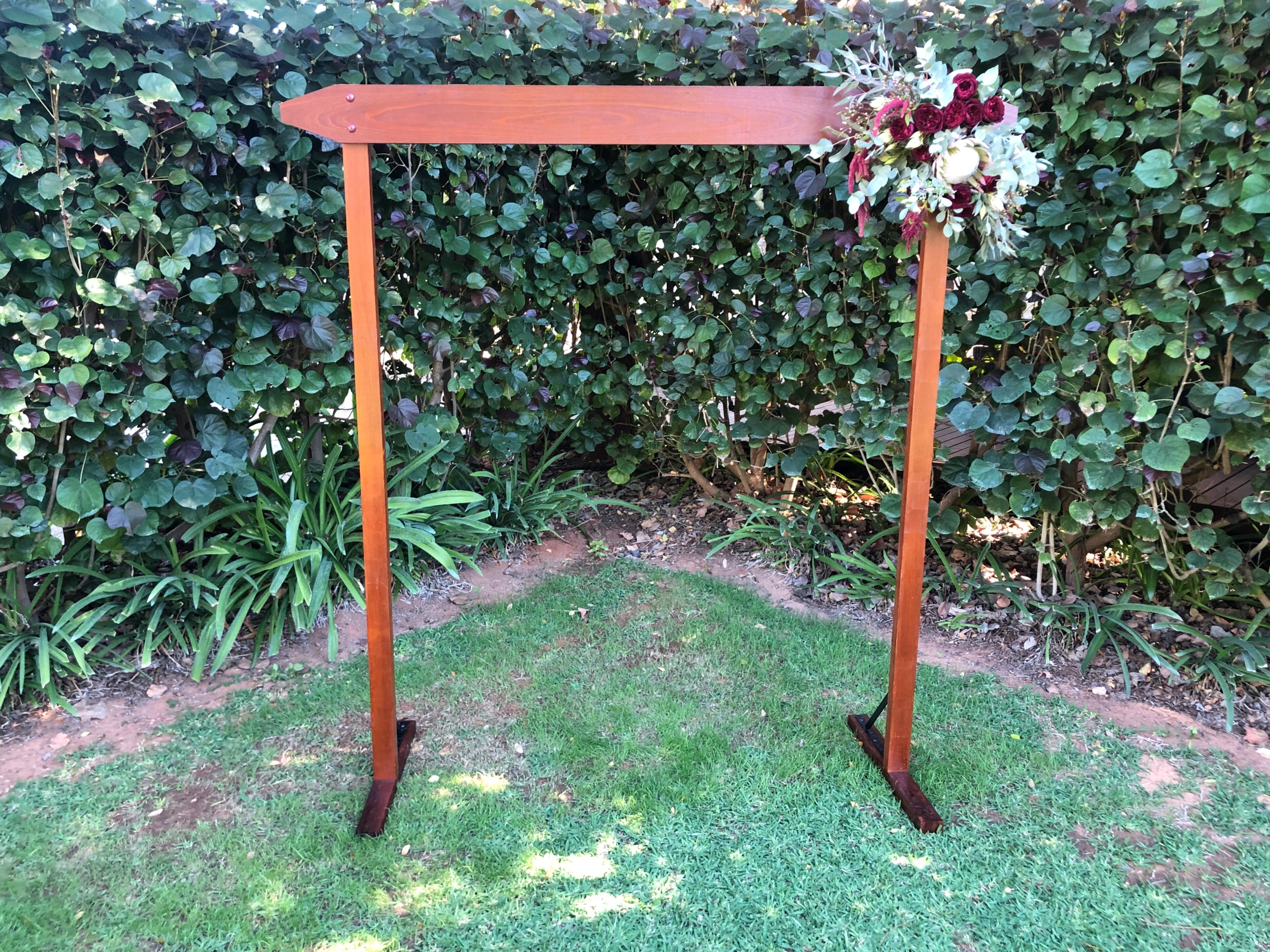 Wooden arbour 'EDEN': $150 - With dressing $190We can drape dressings any style you like- send us your inspiration pictures!