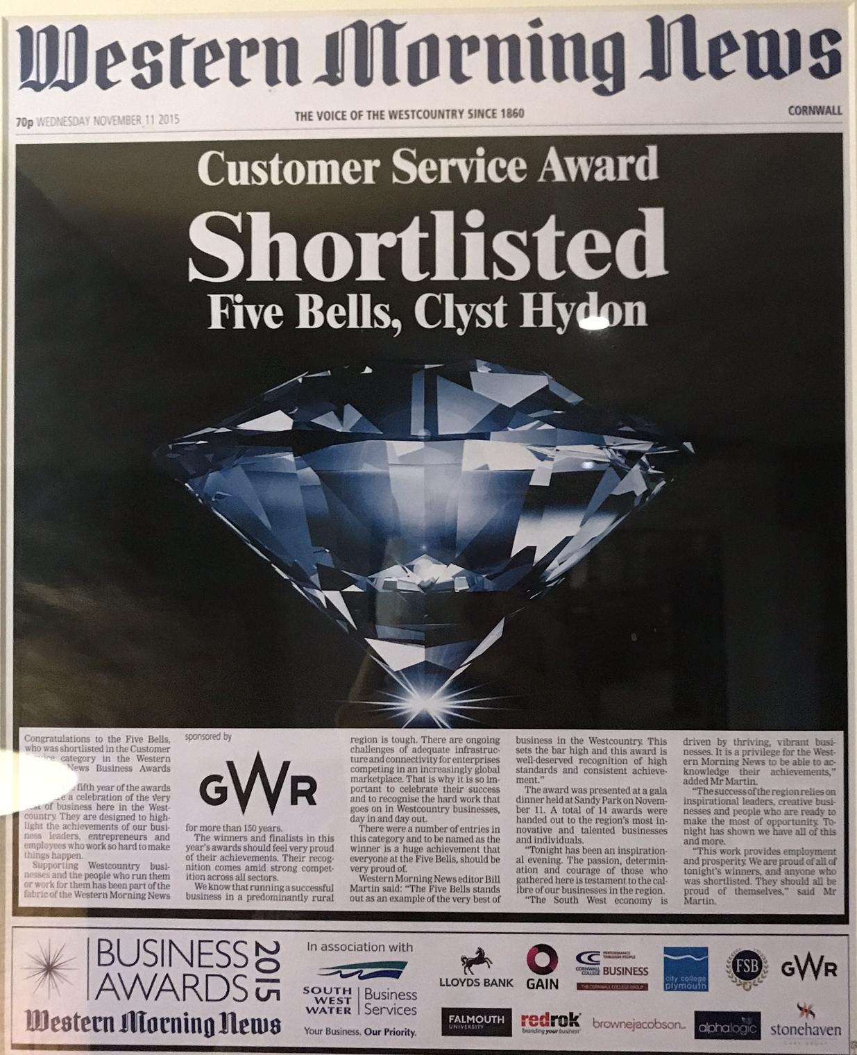 Western Morning News shortlisted for Customer Service Award