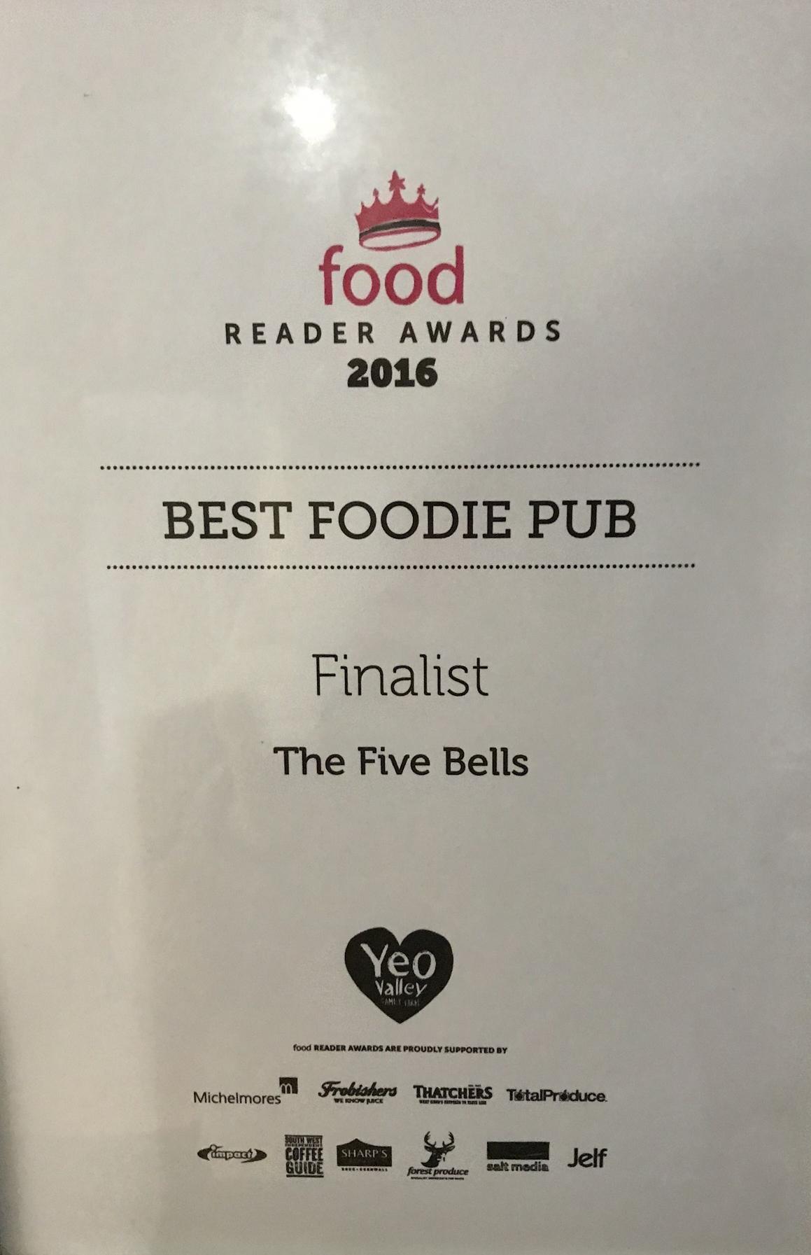 Foodie Awards 2016 Best Foodie Pub