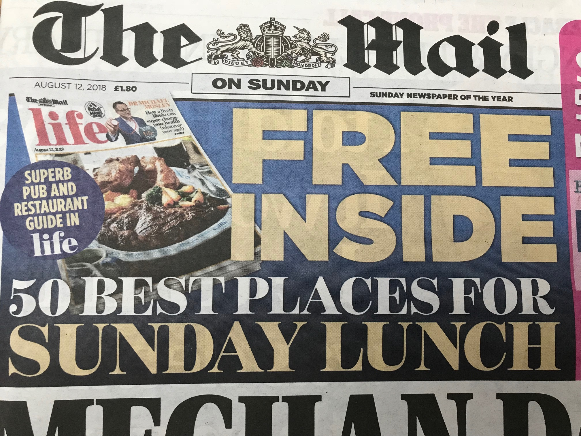Featured as one of the top 50 best places for Sunday Lunch in the UK in the  Mail on Sunday  August 2018.
