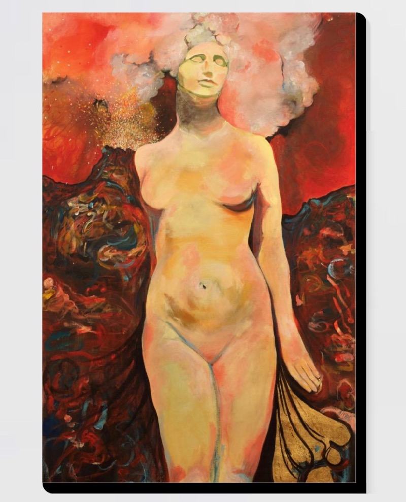 The Volcano Goddess canvas - Archival acid free canvas hand stretched available at Saatchi Artsize 36 x 53 cm for $129, size 41 x 61 cm for $139, size 51 x 76 cm for $159, size 61 x 91 cm for $199