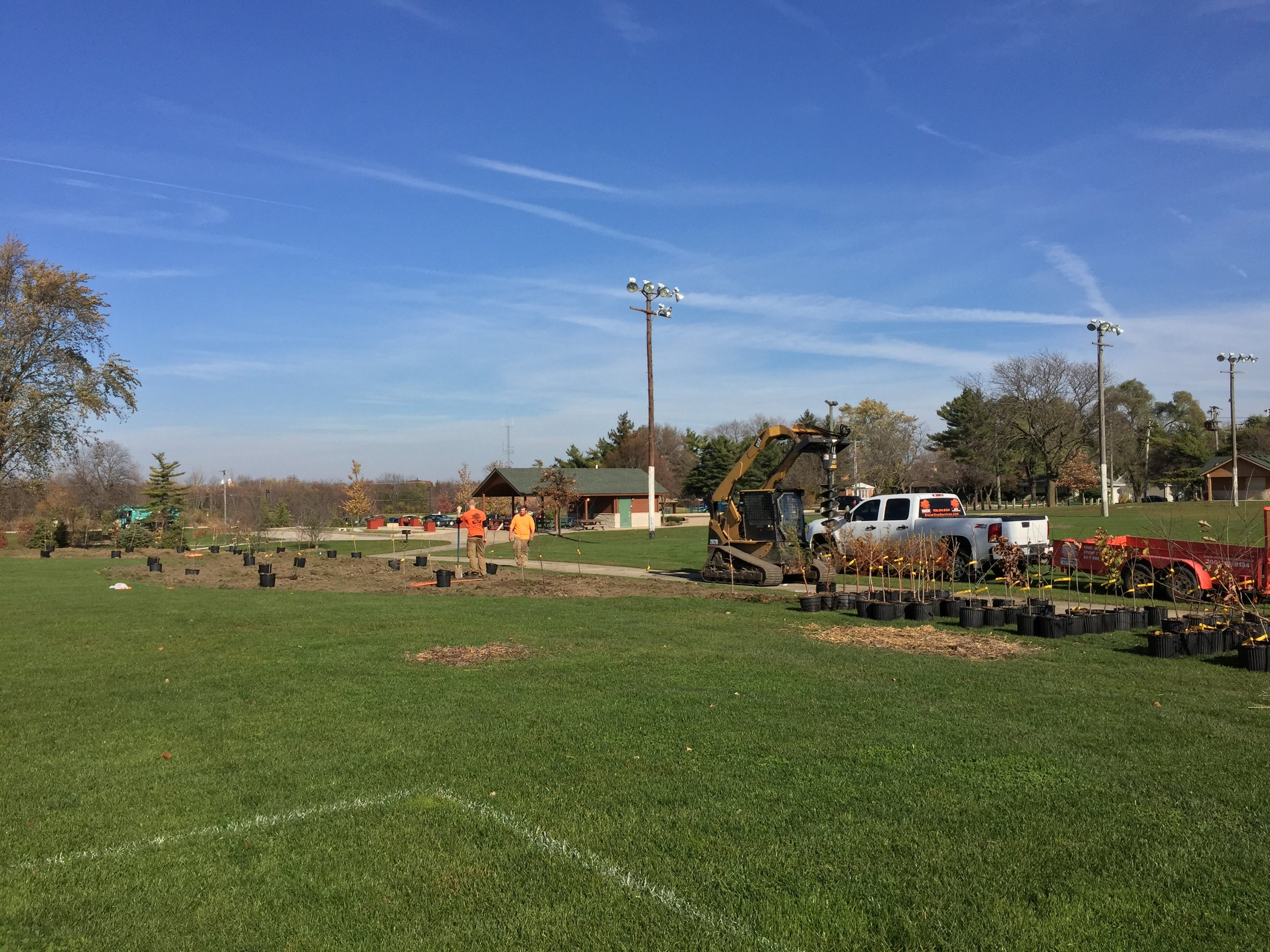 "Mass planting at Frankfort Park District's ""Main Park"""