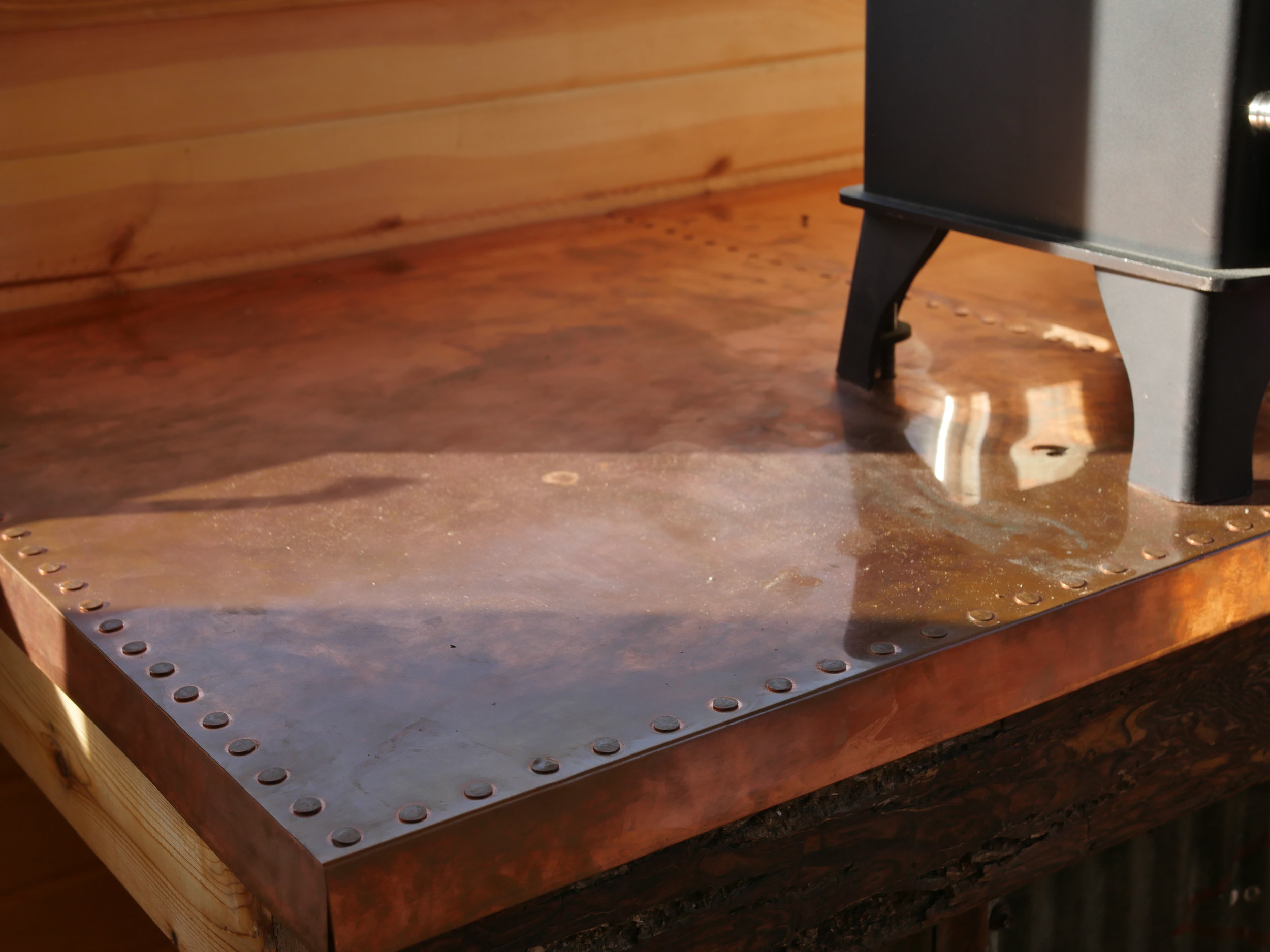 Honey On The Rock - Custom Copper Table Top