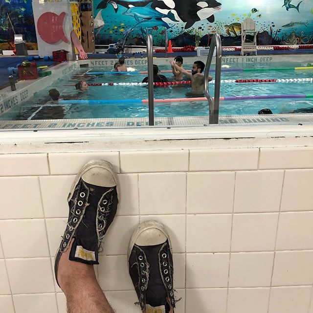 Over the past few years, I've spent so very much time scrolling IG and texting friends as I occasionally look up and catch a fleeting moment of my kids learning to swim. Today's the last. My little one is too big for the little pool. Makes me nostalgic for the magical simplicity of toddler swimming (and the irrational tears at the beginning of the process). Sigh.  Stop growing, kids.  And thank you, @imagineswimming, for teaching my kids not to drown and giving me 40 precious minutes to waste on my phone. . . . . #swimlessons #summer #swimming #tribeca #nyc #kids #gaydad #gaydaddy #gayfamies #pride