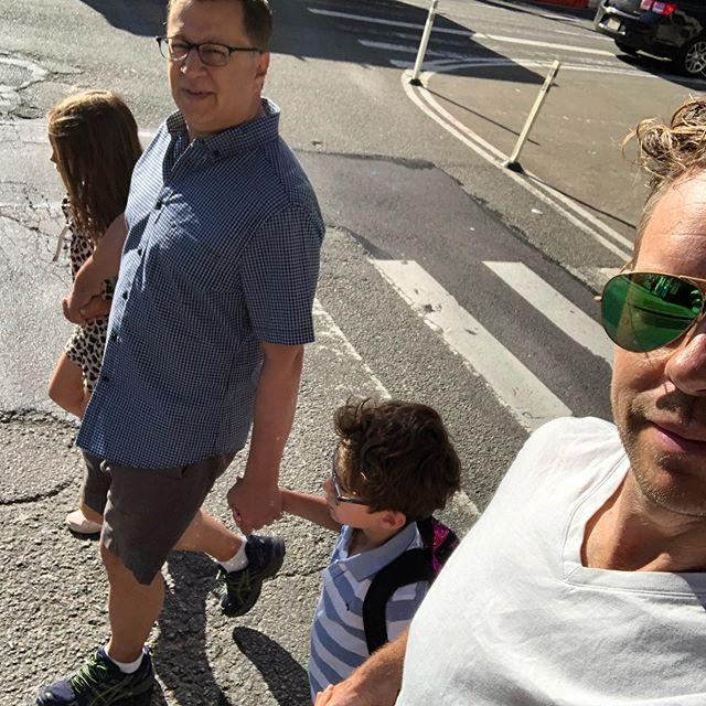 One of our last walks to school in 2019.  #arewethereyet ? (Meaning: #summer) . . . . . #pride #gayfamily #gaydad #gaydaddy #nyc #westvillage #gaydadsww @todd_b_ellison