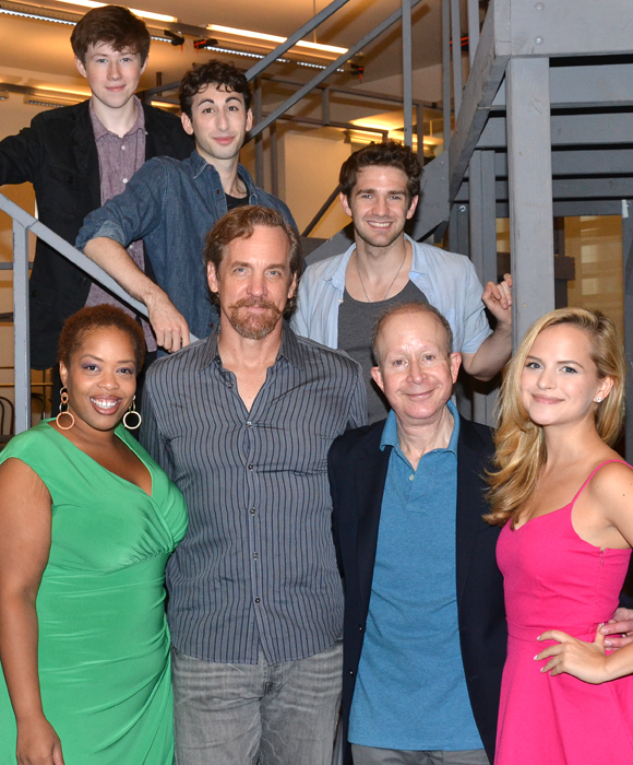 NEWSIES principals pose with the show's Tony-winning songwriter, Jack Feldman