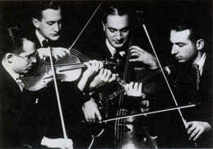 "Kolisch Quartet - The Kolisch Quartet was founded in Vienna but moved to America in 1939. They knew Schoenberg, Berg, Webern and Bartók personally, premiering many of their works. They specialized in a ""modern"" presentation of the Beethoven quartets as one of the first quartets to play Beethoven's metronome markings and to perform the Grosse Fuge in concert."