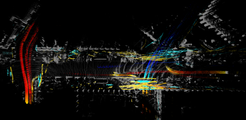 An overhead, Doppler colored view of the data reveals traffic patterns, pedestrian motion, and static surfaces