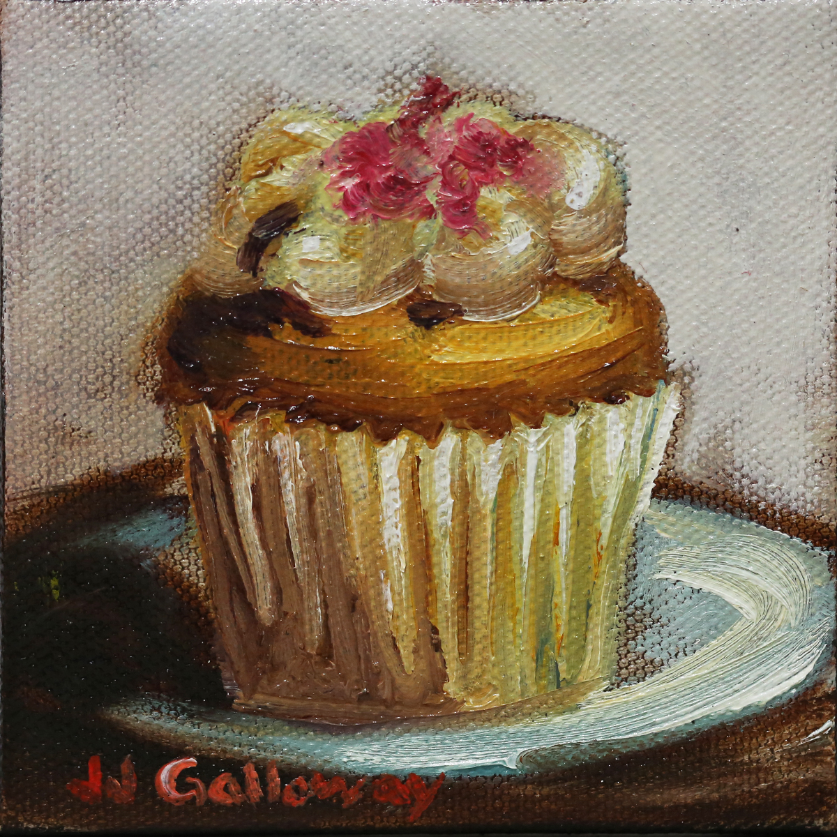 "Strawberry Swirl Cupcake, 4""x4""x1"" Oil on stretched canvas."