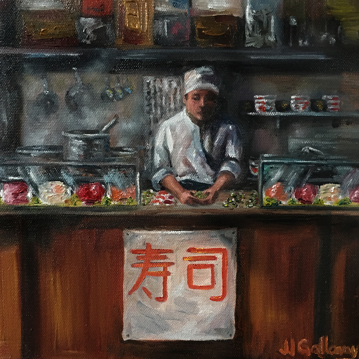 """Sushi Chef"", 10""x10""x1"" Oil on stretched canvas."