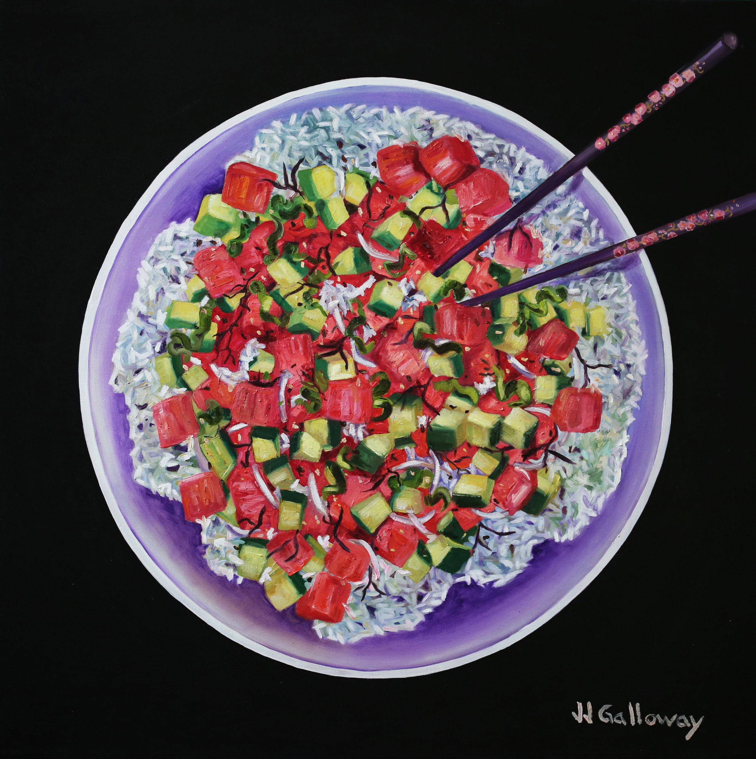 """Poke Bowl""   Oil painting on stretched canvas Finished black edges Varnished and Ready to hang   One-of-a-kind Signed on front 2018  36"" h x 36"" w x 1"" d 3 lbs. 0 oz.  Click   HERE   for more information."