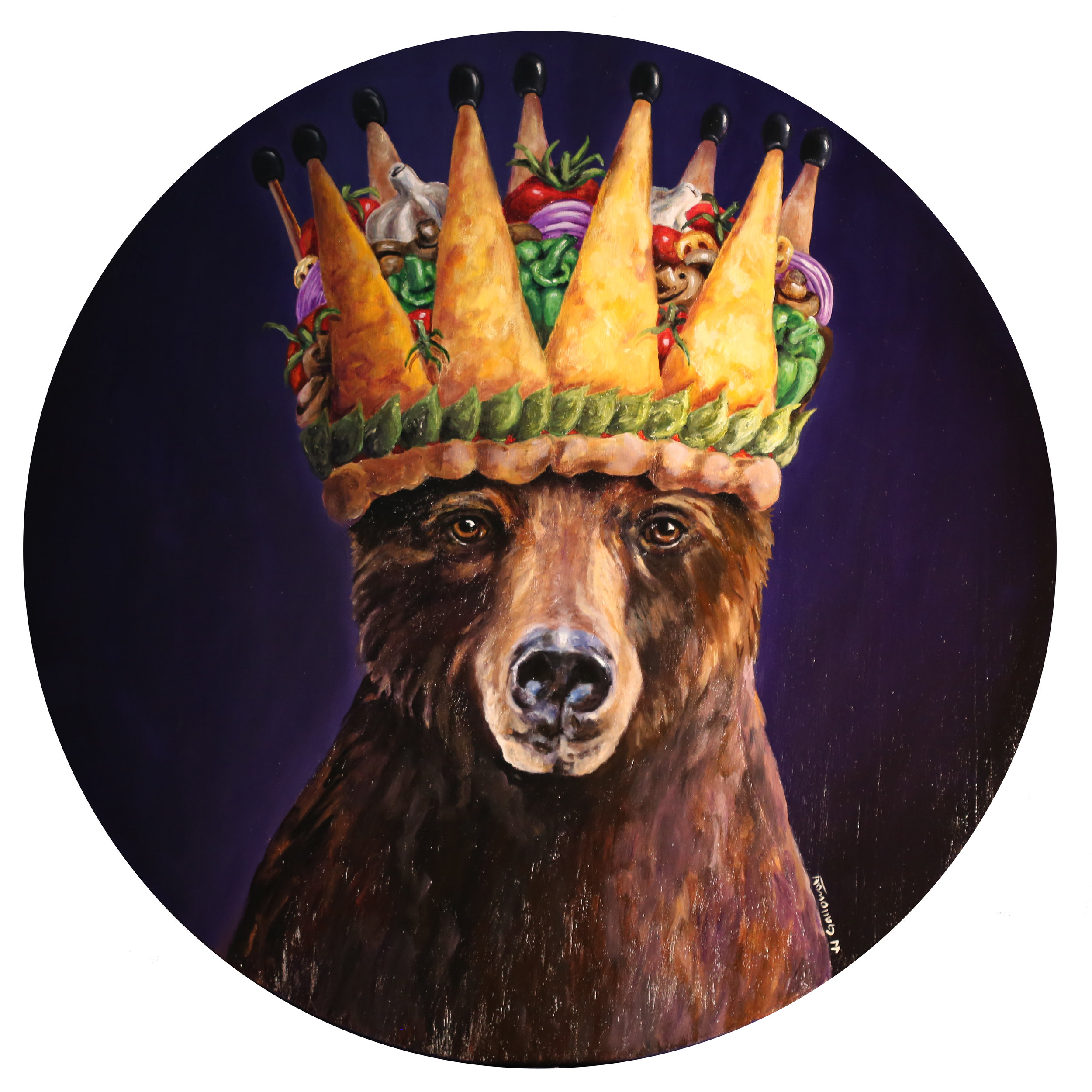 "The Bear and his Pizza Crown, 28"" in diameter oil on wood."