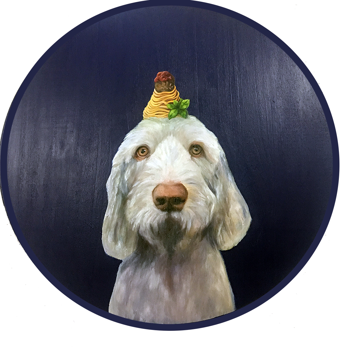 "Ellie the Spinone, 28"" in diameter oil on wood panel."