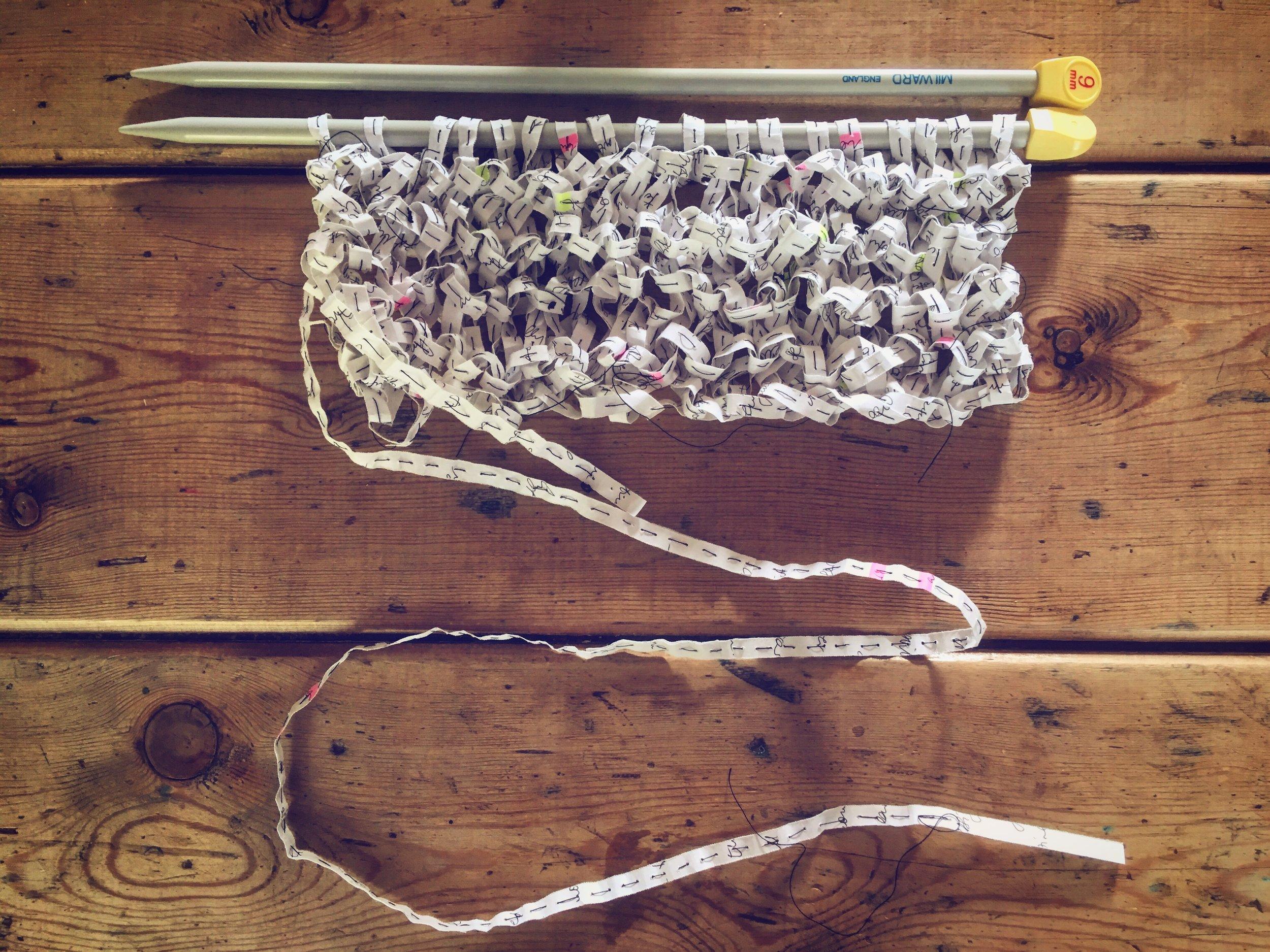 'Journal sculpture V' (shredded journal, thread, knitting needles), 2018