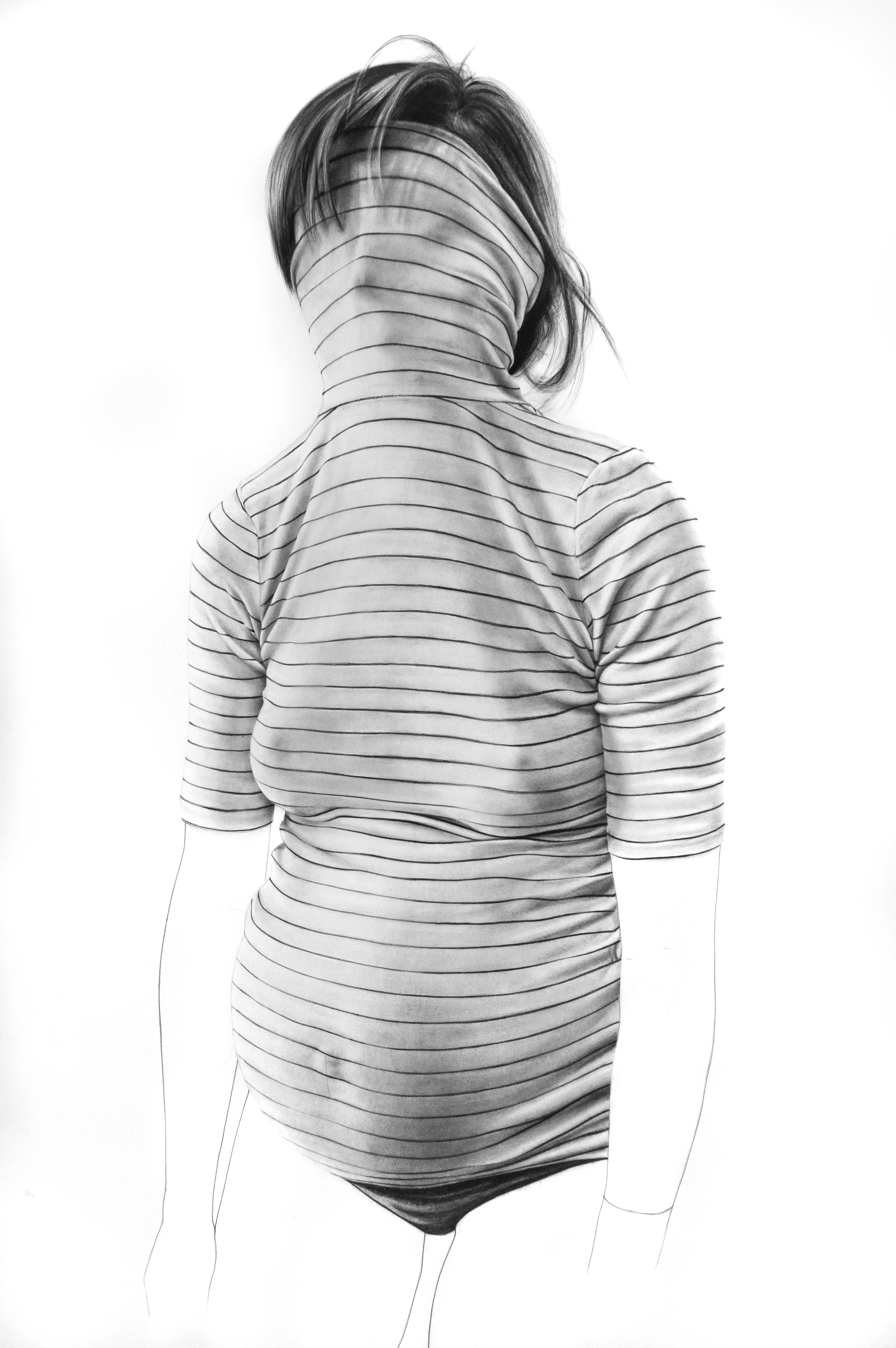 """""""Under Cover"""" / 60"""" x 66"""" / graphite and charcoal on paper / 2019"""