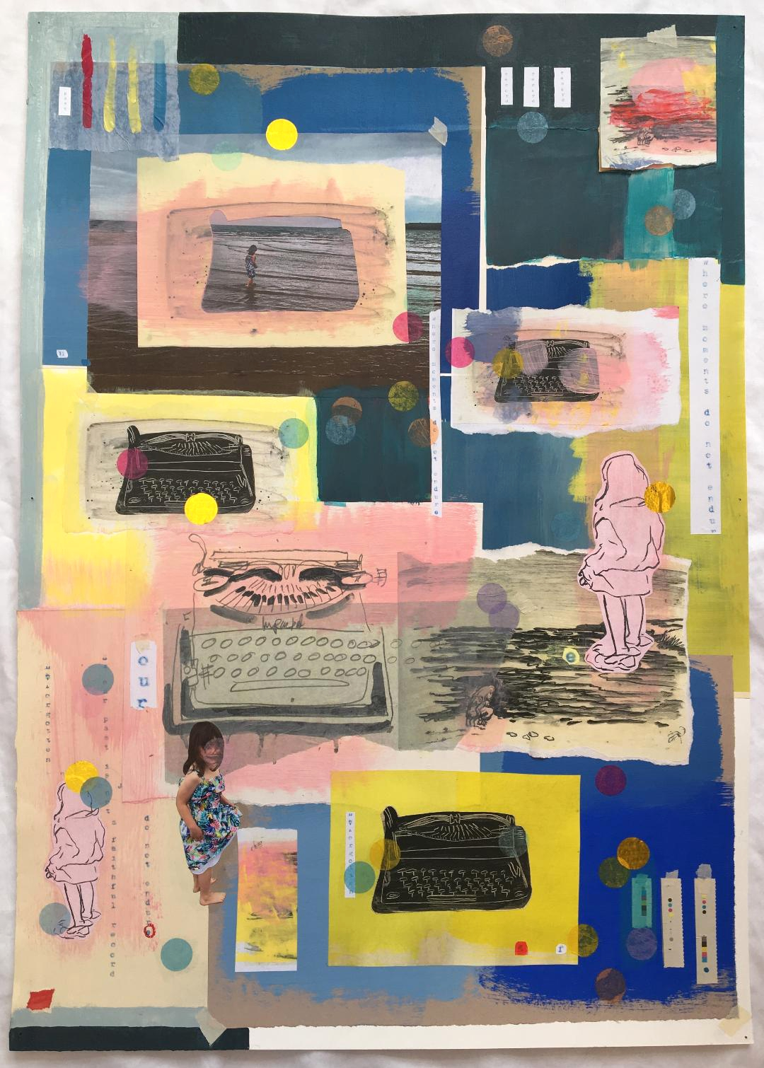 """'The Story Changes in the Retelling"""" mixed media."""