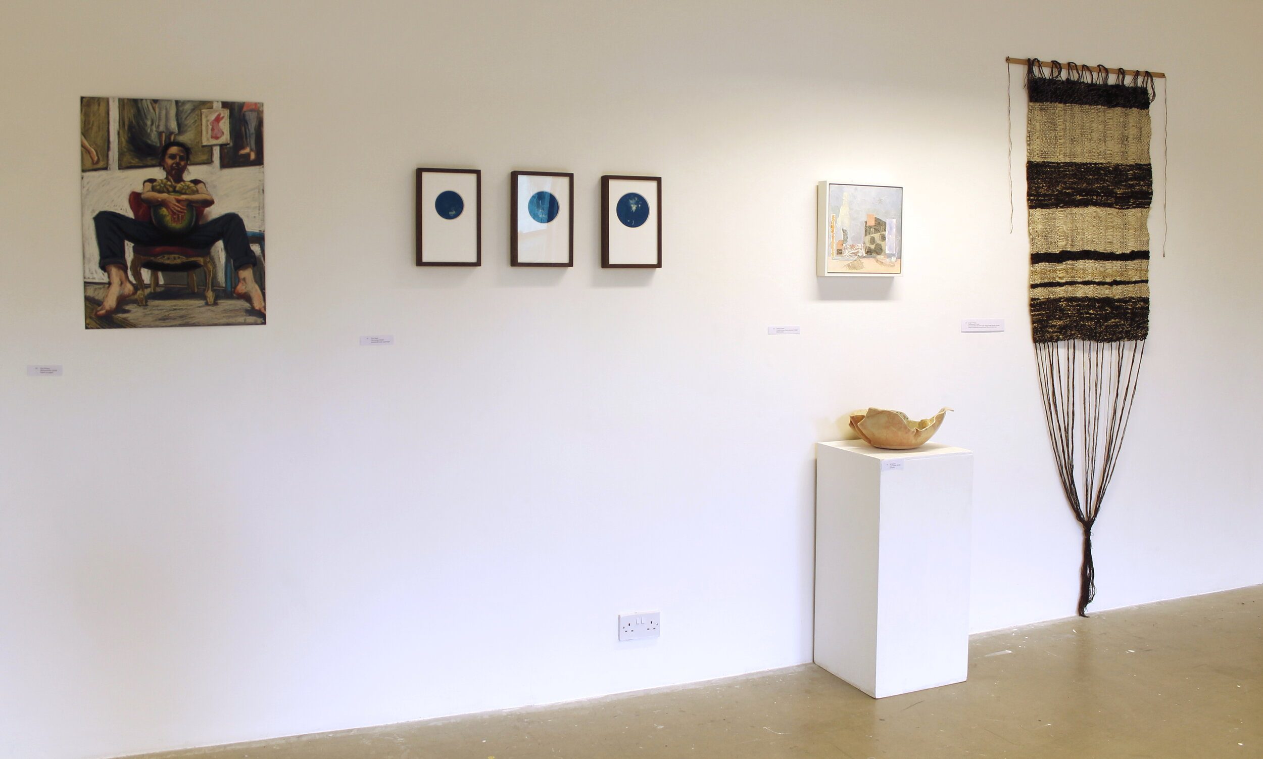 'Meloncholia' hanging alongside Toni Pepe, Victoria Smits, Jill Skulina and Imogen Di Sapia. Installed as part of 're: birth' 28.09.19-12.10.19. Photo by Joan Doyle.