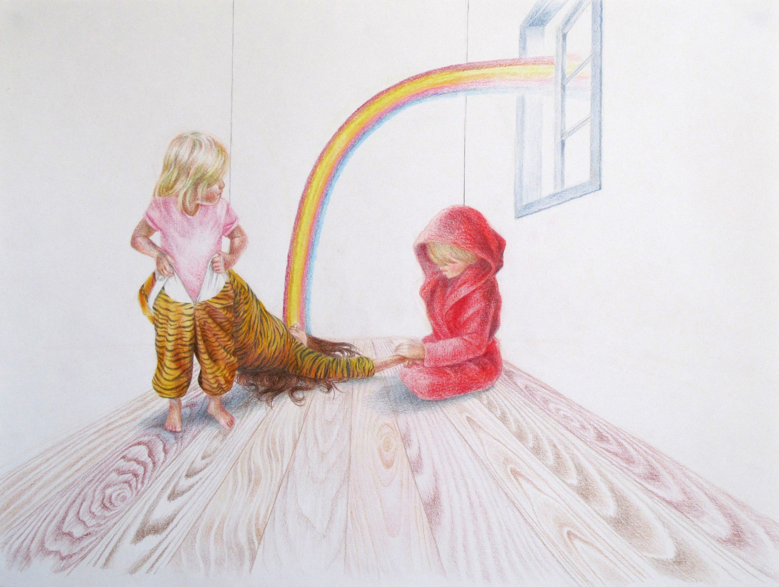 'Me Without You', coloured pencil and graphite on paper.
