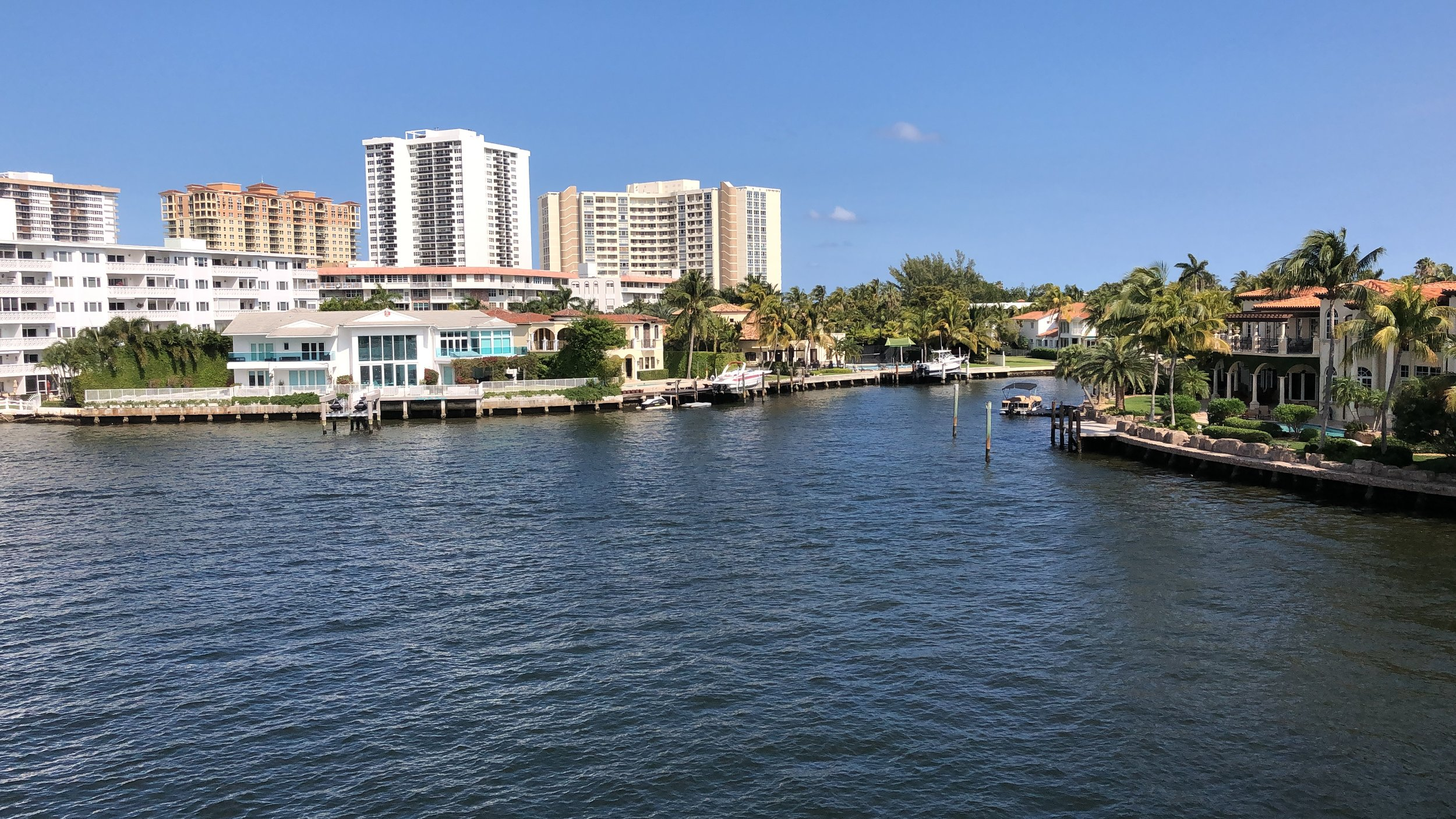 Picturesque Fort Lauderdale, Florida, as seen from cruise ship on the intracoastal February 17, 2019