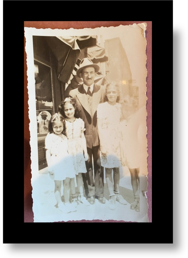My father Benjamin Mark with his cousin Fannie's daughters on left and his cousin Jennie's girls on right (Sally's mom to my dad's left)