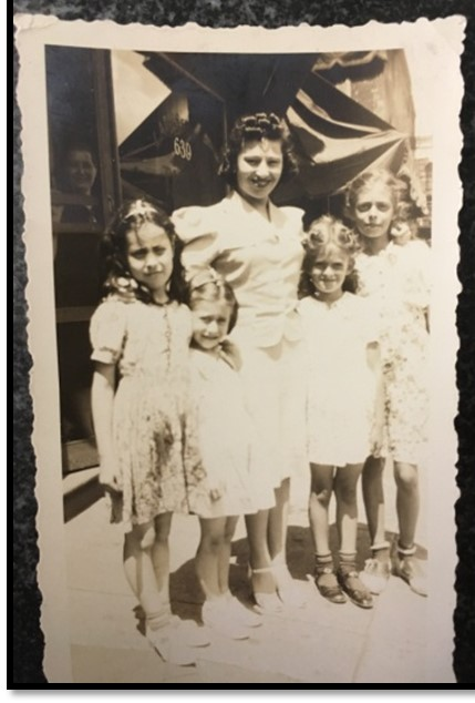 My mother Ida Mark with my father's cousin Fannie's daughters on left and his cousin Jennie's girls on right (Sally's mom to my mom's far left)