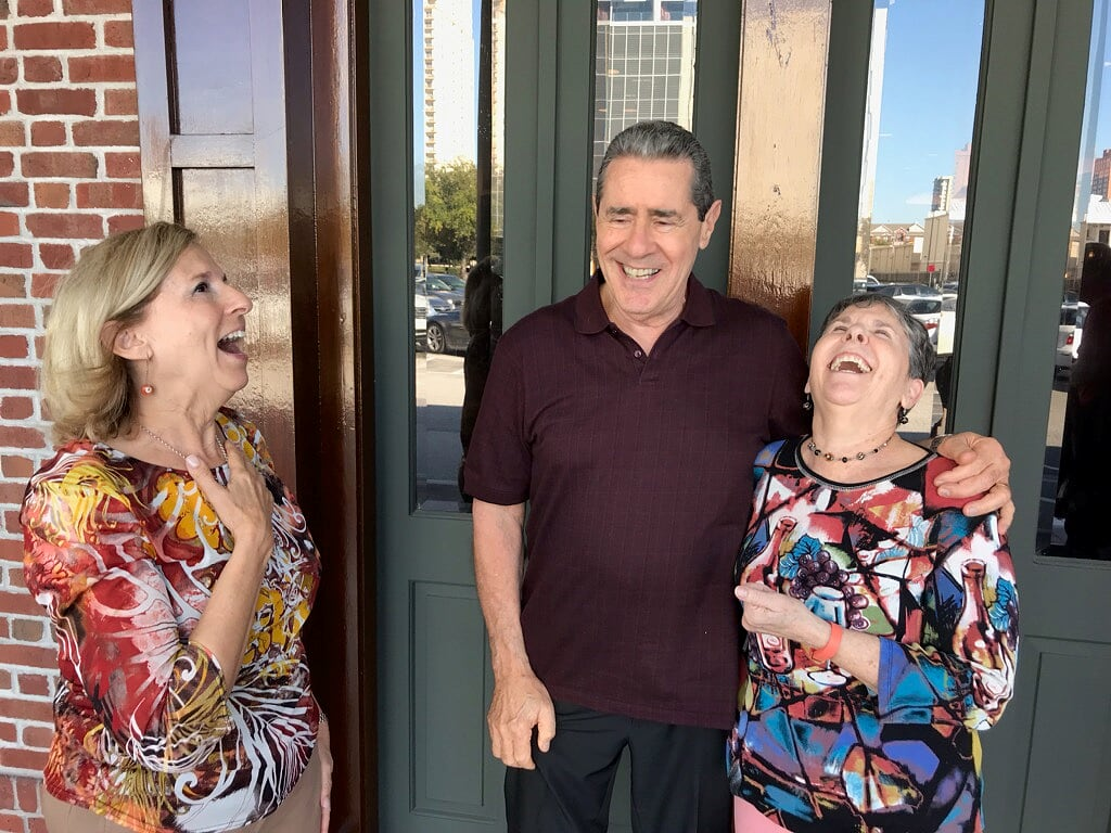 Second cousin Alan Friedman laughing with his sisters Carol and Myrna in October 2018 at our family reunion in Houston, TX (photo credit Margaret Hulligan) - our last get-together.
