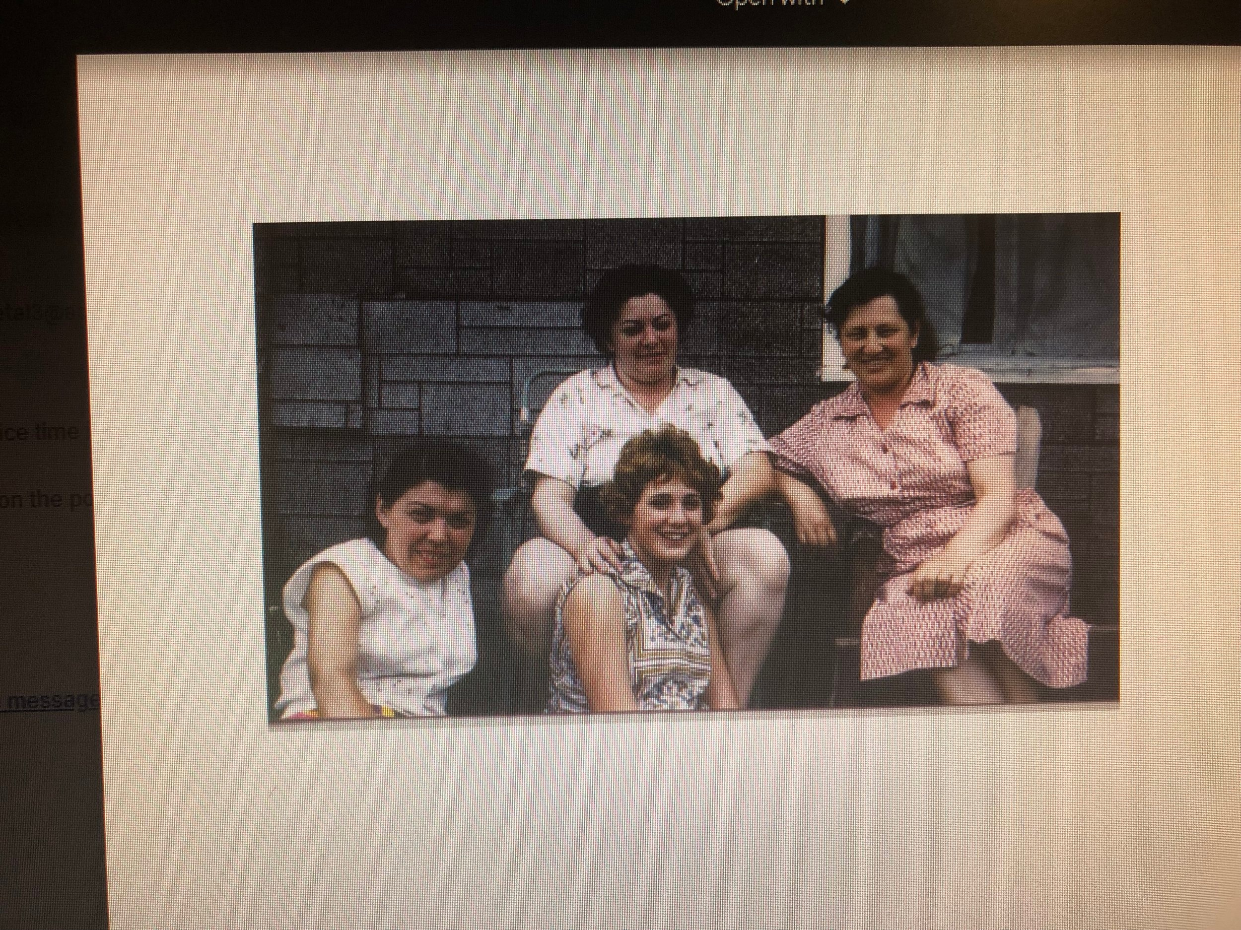 Sarah Weber-left, Gladys Markin and her daughter Linda-center, my mother Ida Mark-right  Mountain View Bungalows Livingston Manor, New York late 1950s
