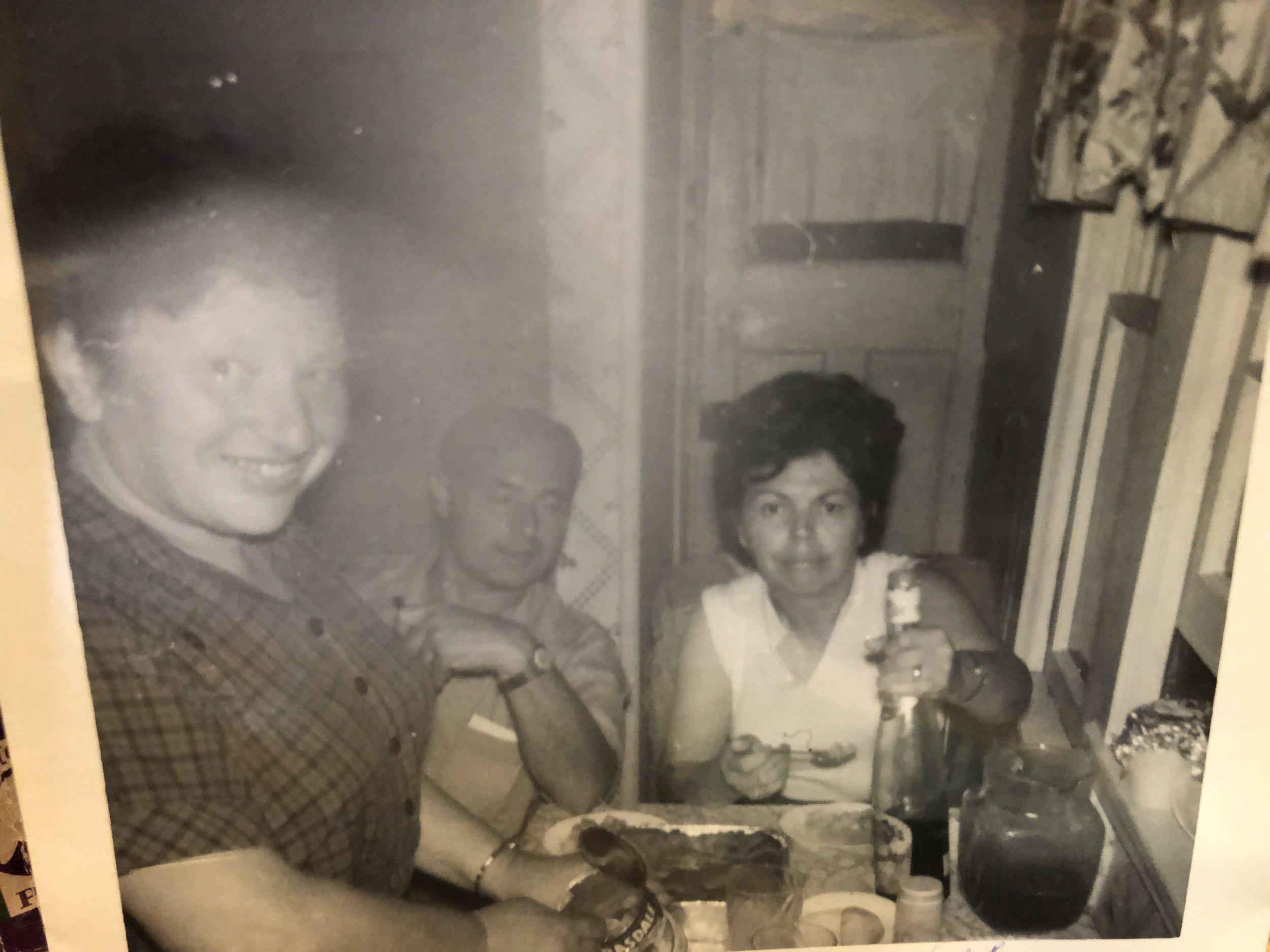 My mother entertaining Lou and Sarah Weber Mundlein's Bungalows White Lake, N.Y. 1966