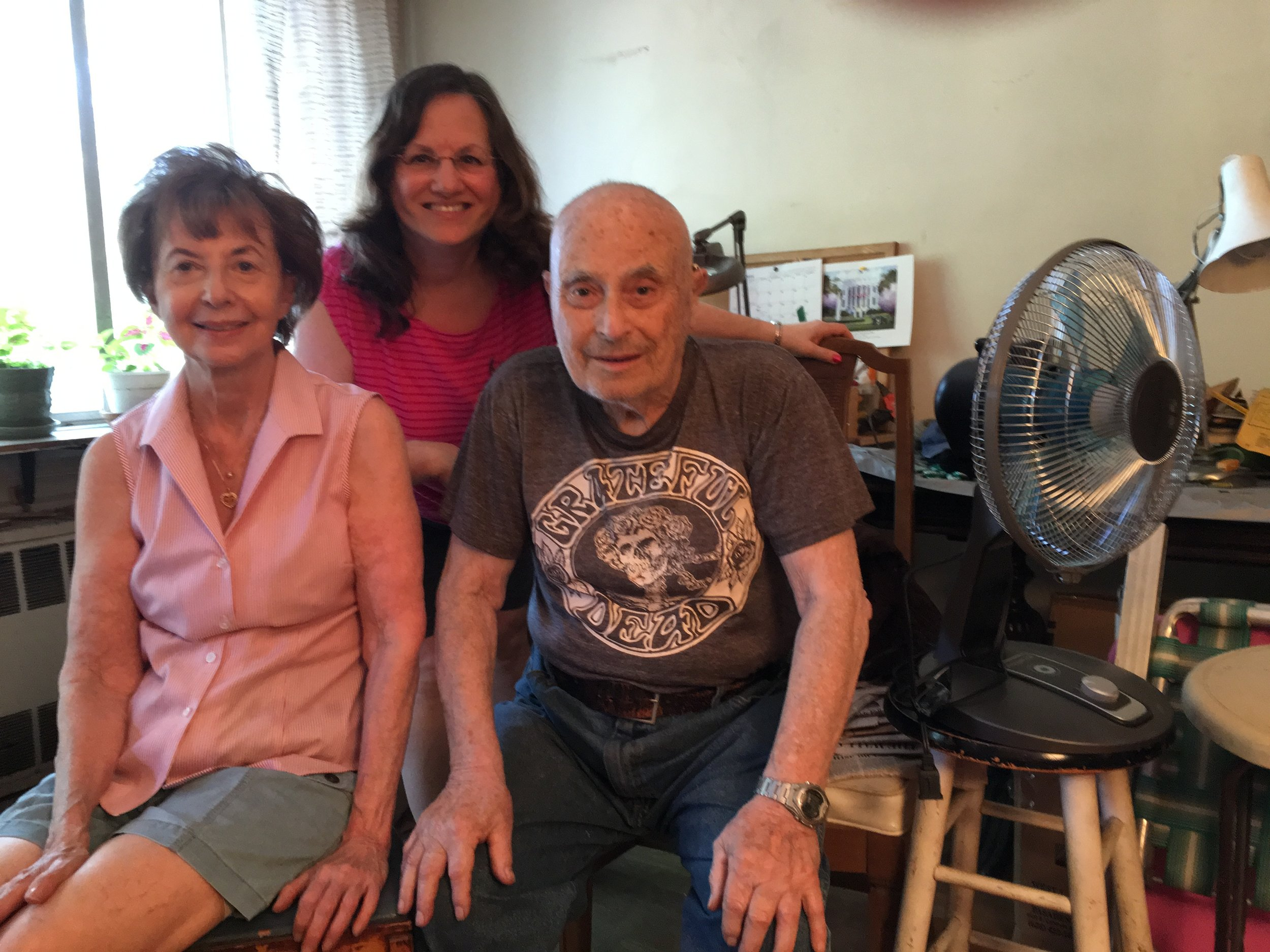 June 26, 2016 Rose and her brother Lou Weber and me (Sharon Mark Cohen) in the middle Brooklyn, N.Y.