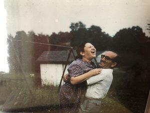 Found this 1950s photograph of my parents Ida and Ben Mark at Mountain View Bungalows in Livingston Manor, N. Y. in Lou Weber's collection of slides. It was the image I carried of my parents of those joyful summers up the mountains and Lou had it for posterity!