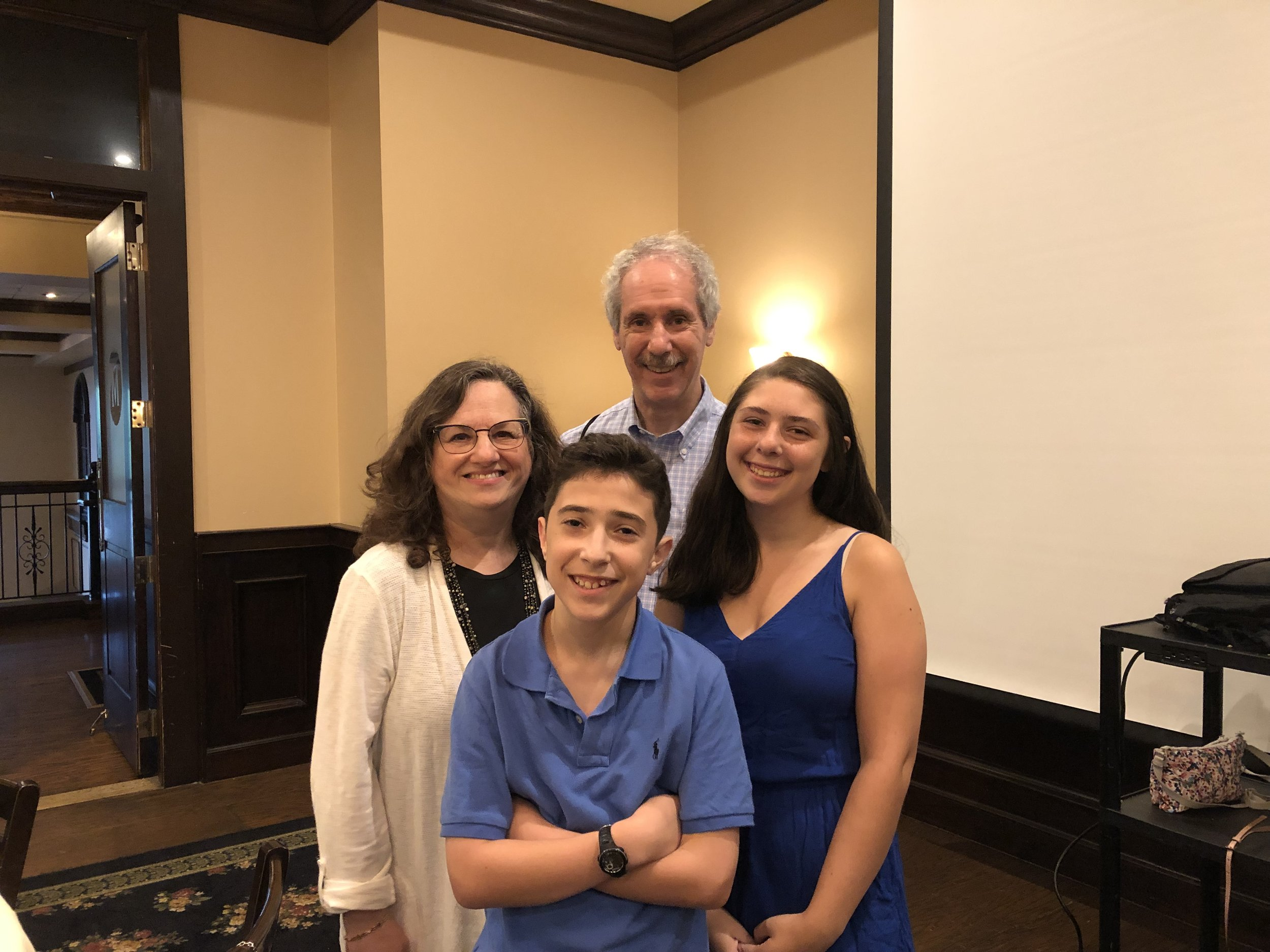 Ian Shure-Bar Mitzvah at his evening dinner (August 24, 2019) with his sister Alexa on right, with Sharon Mark Cohen and Arnee Cohen