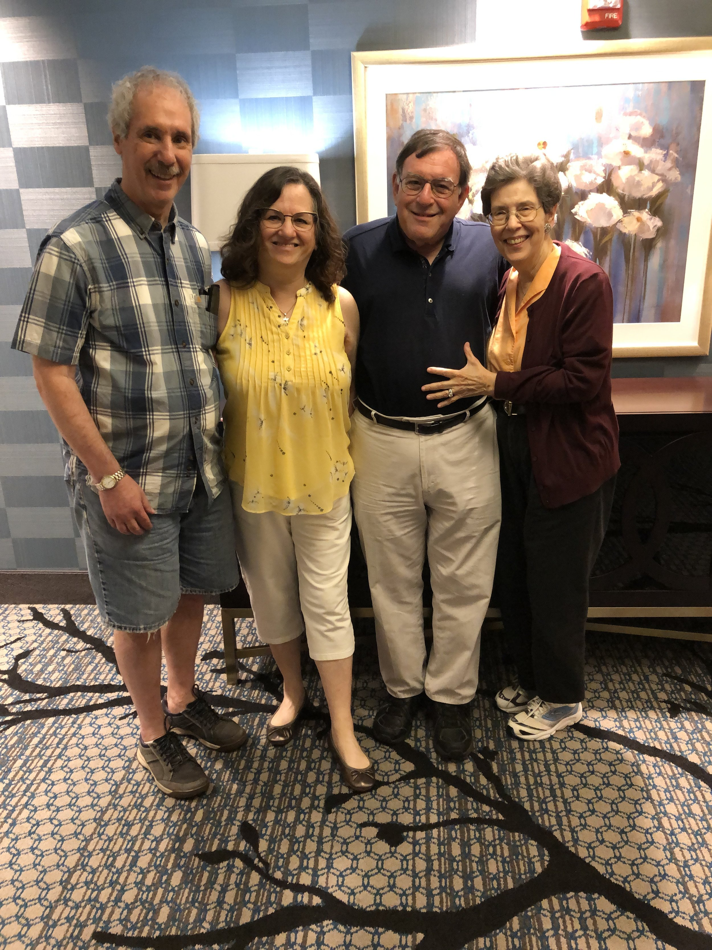 Morning after Ian's bar mitzvah in Charlotte, North Carolina. Arnee Cohen and Sharon Mark Cohen with Ian's'maternal grandparents—Ken Hoffman and Linda Neidich Hoffman. August 25, 2019
