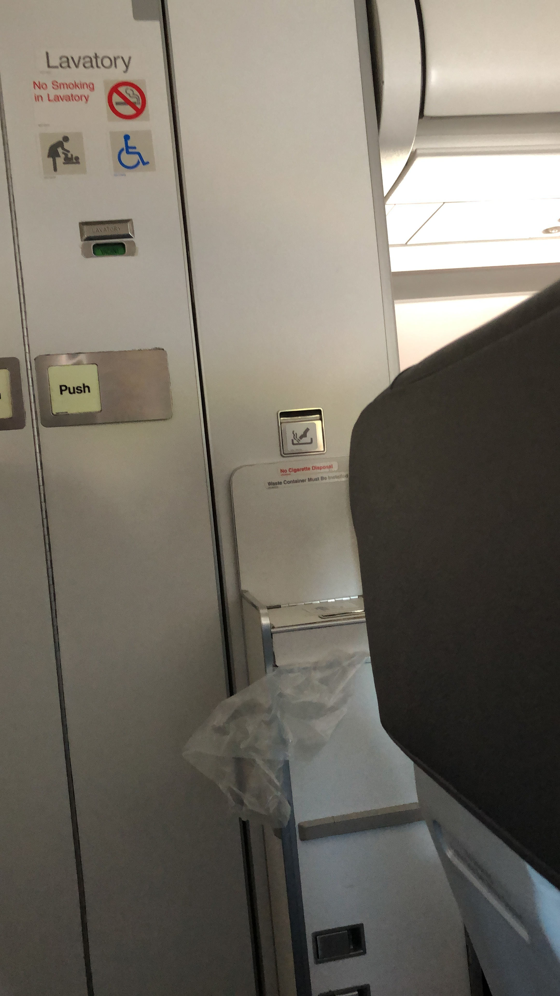 lavatory in my row on American Airlines August 26, 2019