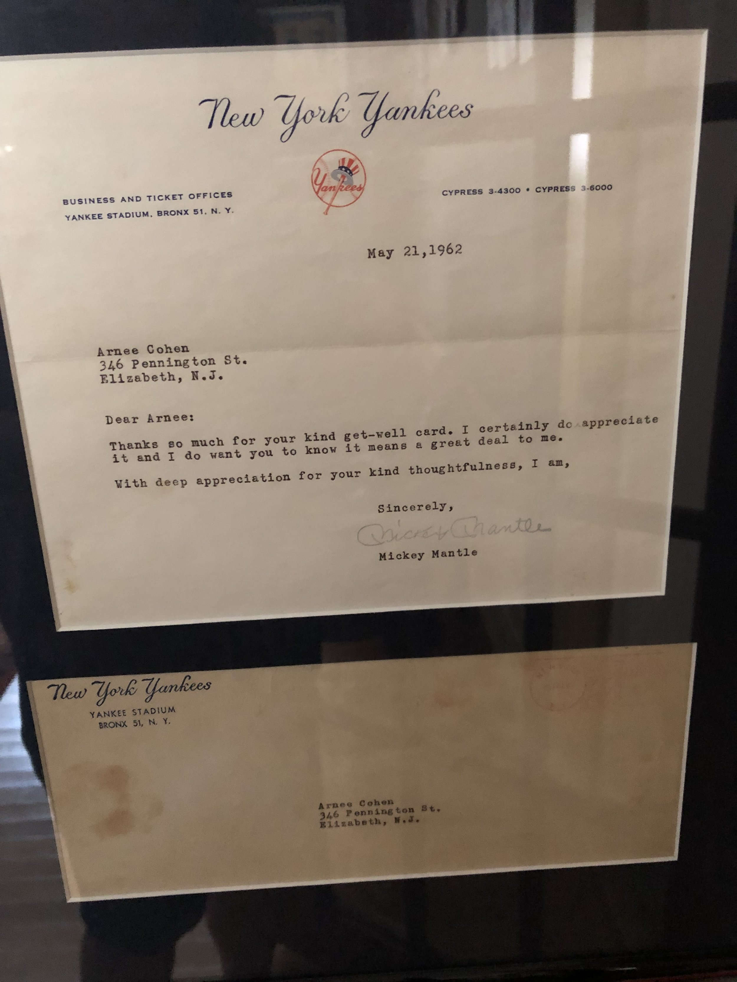 1962 Thank You note from Mickey Mantle, addressed to my husband…note, it was before zip codes