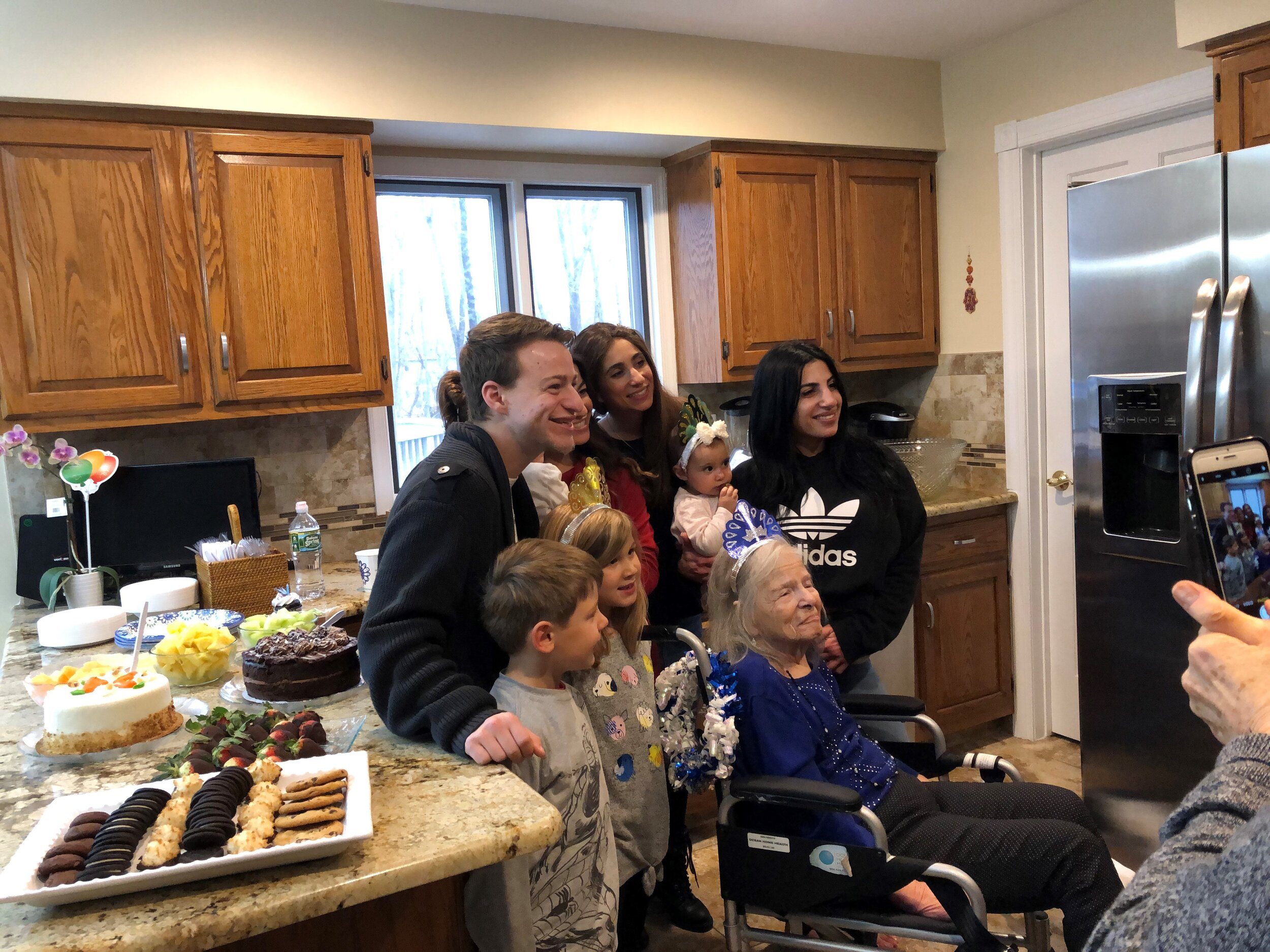 Erica Marcus…Kindertransport survivor Celebrating her 95th birthday in her New Jersey home pictured here with several but not all of her grandchildren and great-grandchildren