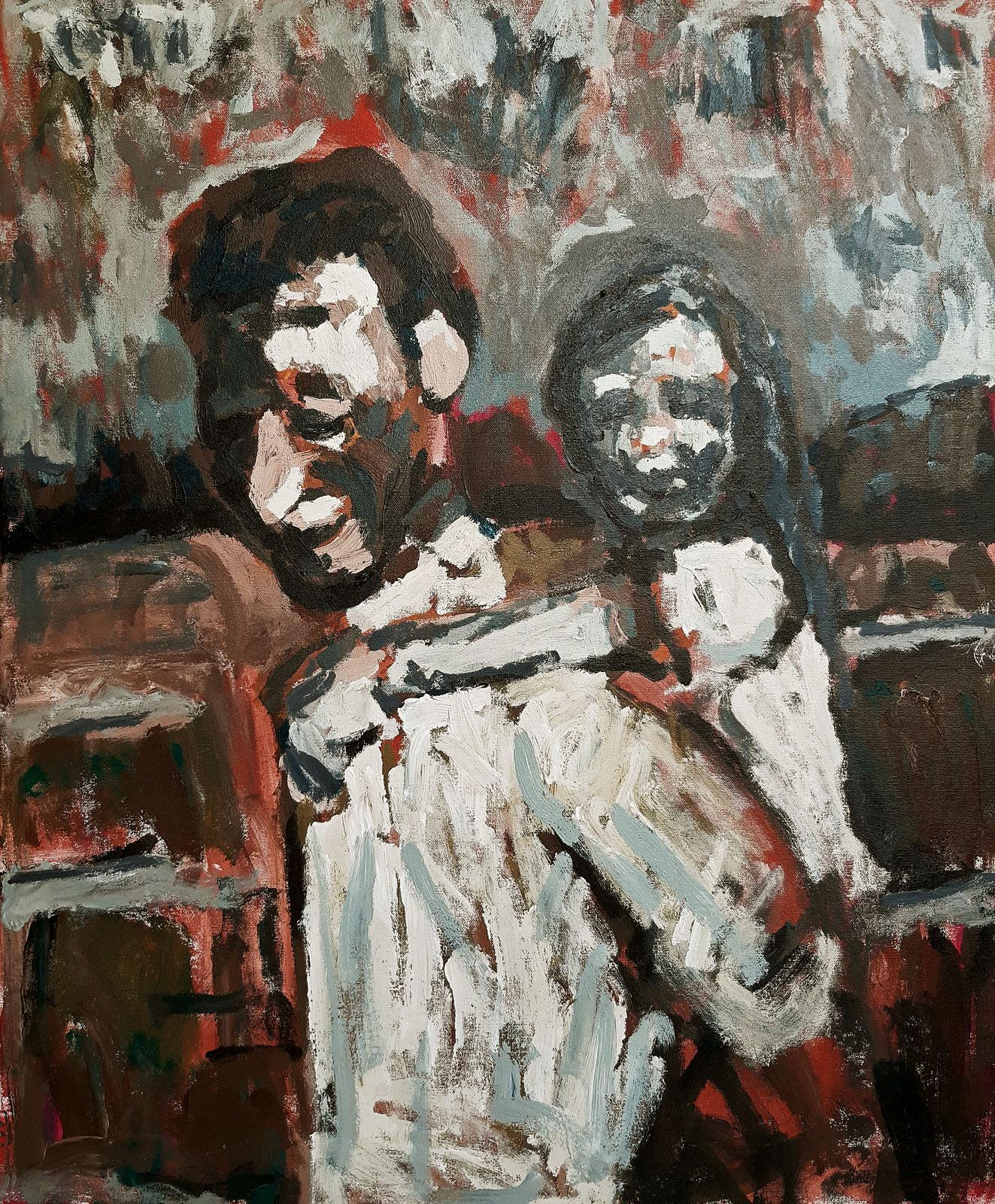 Helga and Father  Acrylic on canvas  70x86cm  2019