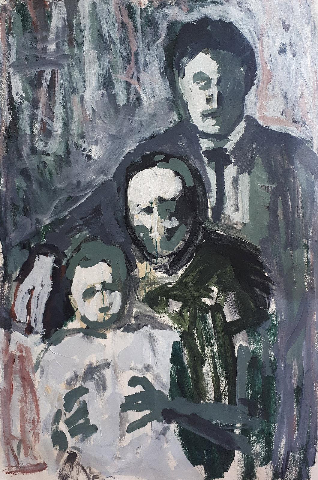 The Pasternak's (damaged portrait)   Acrylic on paper 100x70cm  2019
