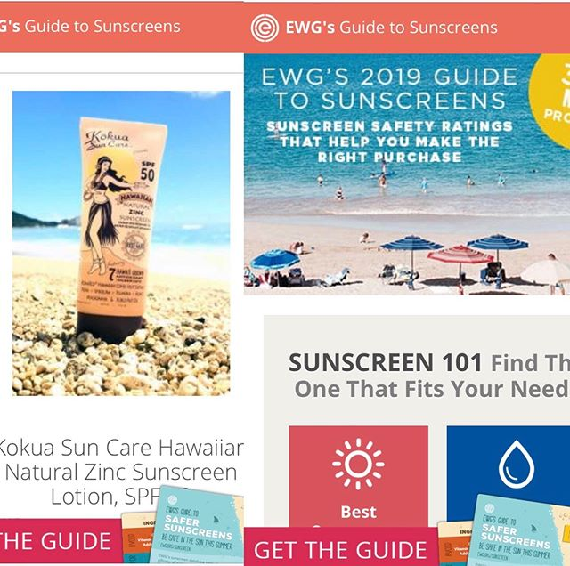 "EWG's 2019 Guide to Sunscreens is out!  Kōkua Sun Care was rated a ""1"" - the best rating, again this year and selected as one of the best beach and sport sunscreens with excellent UVA and UVB protection.  This also makes it ideal for our babies and children along with the facts that it is very water resistant, doesn't sting eyes, or have any toxic ingredients! ☀️ ☀️ ☀️ The 2019 guide comes after the Food and Drug Administration said earlier this year that 12 of 16 active ingredients in sunscreens have insufficient data from testing to determine whether they can be generally recognized as safe and effective.  We use 25% non nano ZINC which is considered safe & effective. ☀️ ☀️ The Environmental Working Group releases an annual list of sunscreens it says are safe after extensive review of a variety of products available to consumers. To rank each product, EWG looks at various factors related to sun protection and the potential health hazard of a product.  Check out @environmentalworkinggroup ☀️ ☀️ #ewg #practicesafesun #aadmember #kokuasuncare #sunsafe #wearsunscreen #environmentalworkinggroup #ewgrated #zincsunscreen #sunprotection #broadspectrum #spf #spf50 #ewgskindeep #skindeep #sunscreenguide #ewgsunscreenguide #safesunscreen"