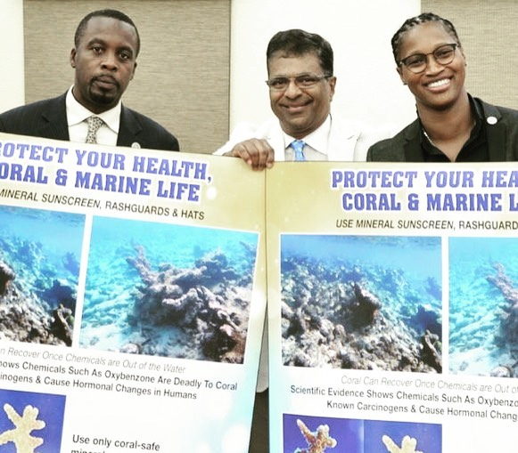 Big victory for the coral reefs is the US Virgin Islands, where 80% of coral reefs are dying.  The USVI went beyond Hawaii's and Key West's laws banning just oxybenzone and octinoxate; they also banned OCTOCRYLENE, another chemical sunscreen toxic to marine life found in many mainstream sunscreen brands. [Note: ALL chemical sunscreens are toxic 💀 not just the ones banned!!] Octocrylene also is a photosensitizer on human skin that increases free radicals in UV light causing DNA damage 🤦‍♀️ ☀️ ☀️☀️☀️ ———————————————————————— 🐟🐟🐟🐟🐟🐟🐟🐟🐟🐟🐟🐟😁🐟 🐬🐬The #usvi #sunscreen law bans importation of sunscreens with these chemicals on March 30, 2020, making it the first ban in effect in the USA!  No sales of the poison after January 2021. ☠️ ——————————————————————Photo: 🎥 After the sunscreen bill was passed Tuesday June 25th by the Senate, Sen. Marvin Blyden, left, environmental advocate Harith Wickrema and Sen. Janelle Sarauw pose with sunscreen bill information. (Photo by Barry Leerdam V.I. Legislature)  #savethereef #reefsafe #coralreefs #usvirginislands #nooctocrylene #nooxybenzone #octinoxatefree #victory #savetheplanet #saveouroceans #zincsunscreen #kokuasuncare #reefsafesunscreen