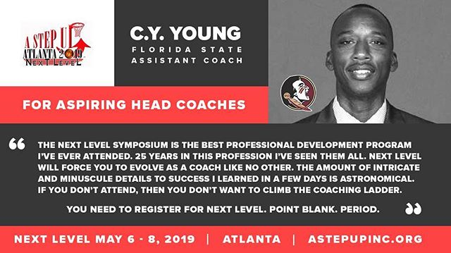 "To be a successful coach you must evolve right?  Let Coach CY of @FSUHoops tell you & he has SEEN IT ALL!! ☝🏾 ""The amount of intricate and minuscule details to success I learned in a few days is astronomical."" ""You need to register for Next Level. Point Blank. Period."" One more day to get the HOTEL DISCOUNT Rate - Good thru Friday, April 19th"