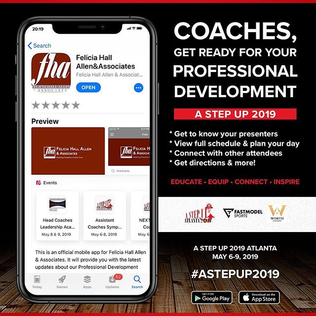 Coaches 🗣 We are READY FOR YOU! So let us help you get ready for US!  #AStepUp2019 APP is AVAILABLE NOW for attendees! 📲  Go ahead: • Get to know your presenters • View the schedule & plan your day • Connect with other attendees  See you soon! 👋🏽 #NextLevel2019 #HCELA2019