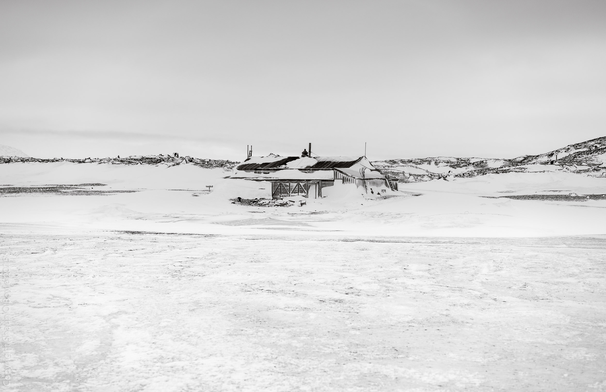 Cape Evans Hut, built by Captain Scott in 1911 for the Terra Nova Expedition, from the Sea Ice on arrival.