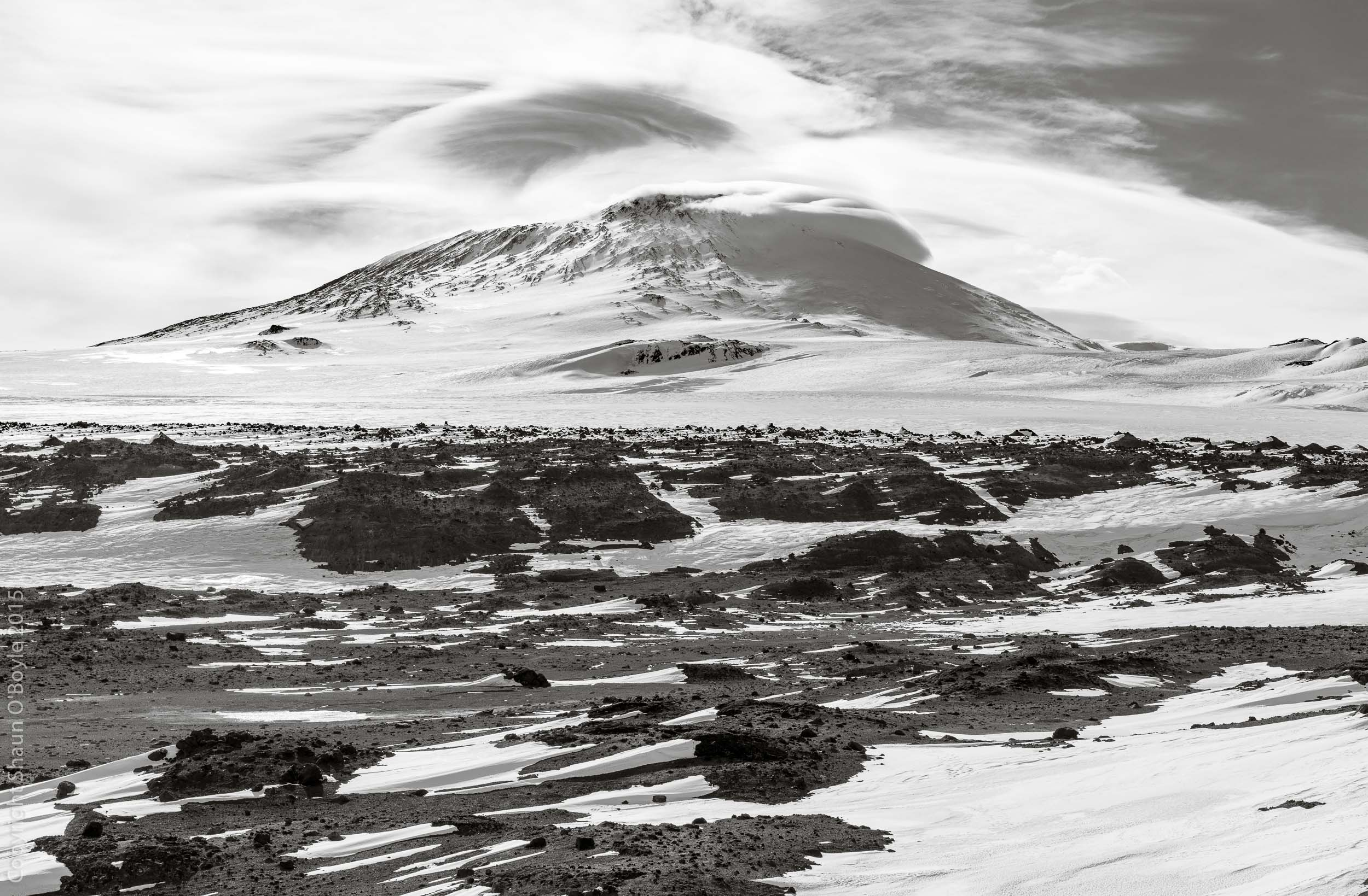 Mount Erebus from Windvane Hill, Cape Evans.